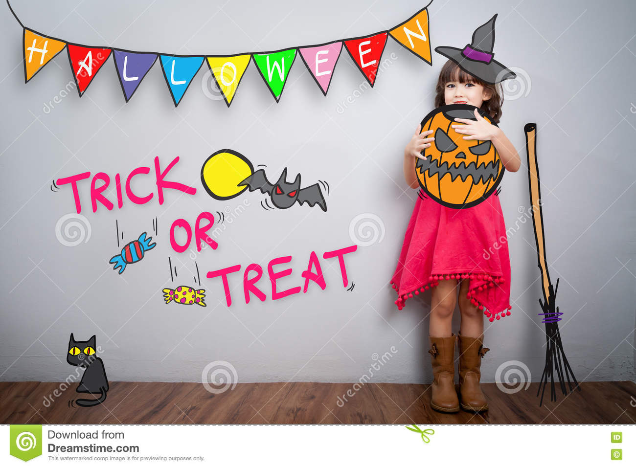 Portrait of cute little girl with halloween costume decoration t
