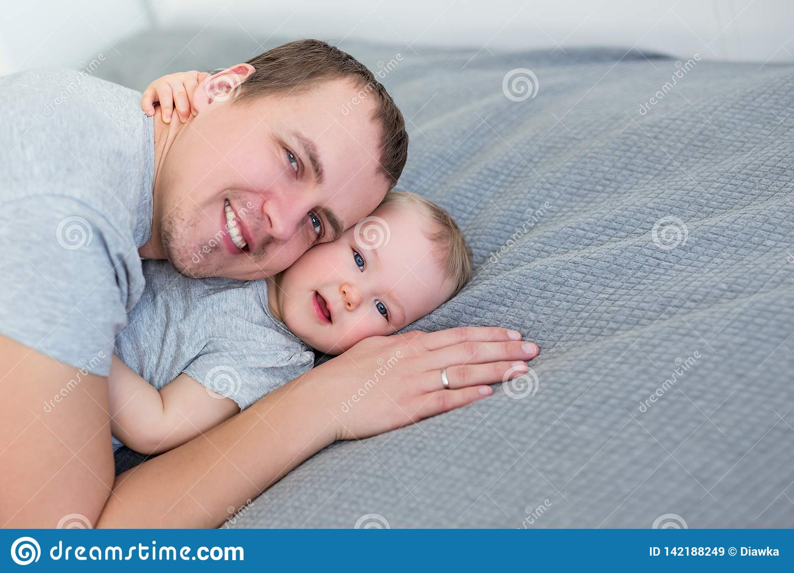 Portrait of cute little girl with her father