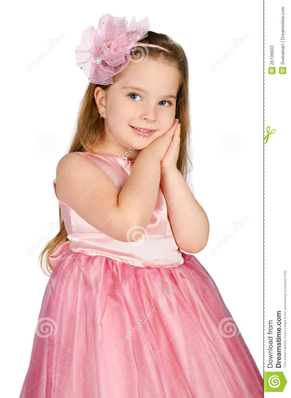 Portrait Of Cute Little Girl In Princess Dress Stock Photography ...