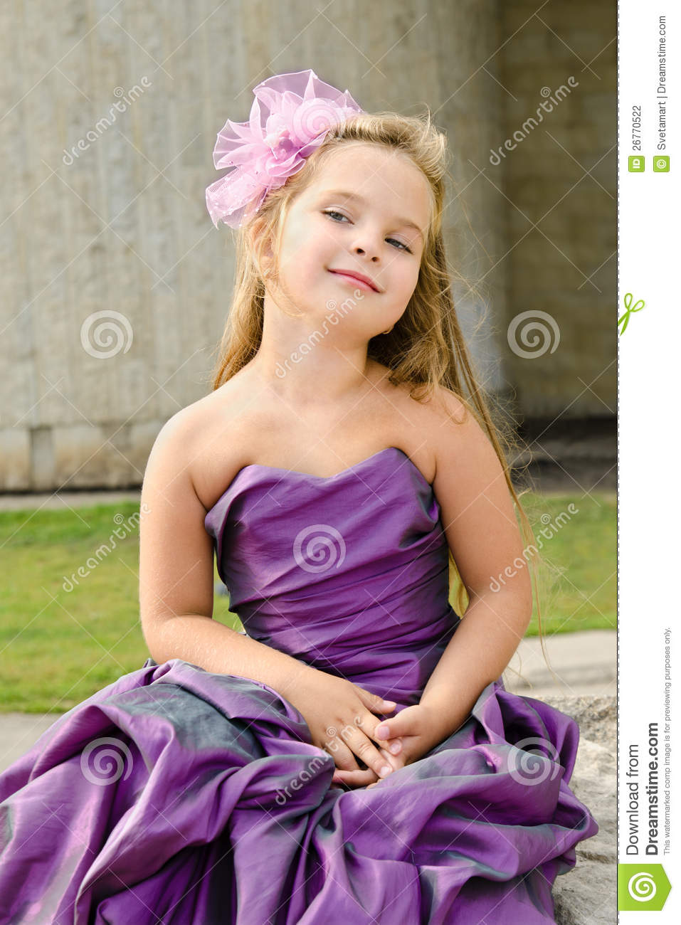portrait of cute little girl in princess dress stock photo - image
