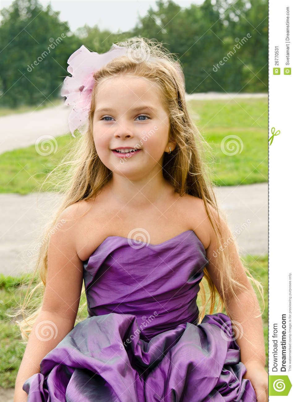Portrait Of Cute Little Girl In Princess Dress Stock Image
