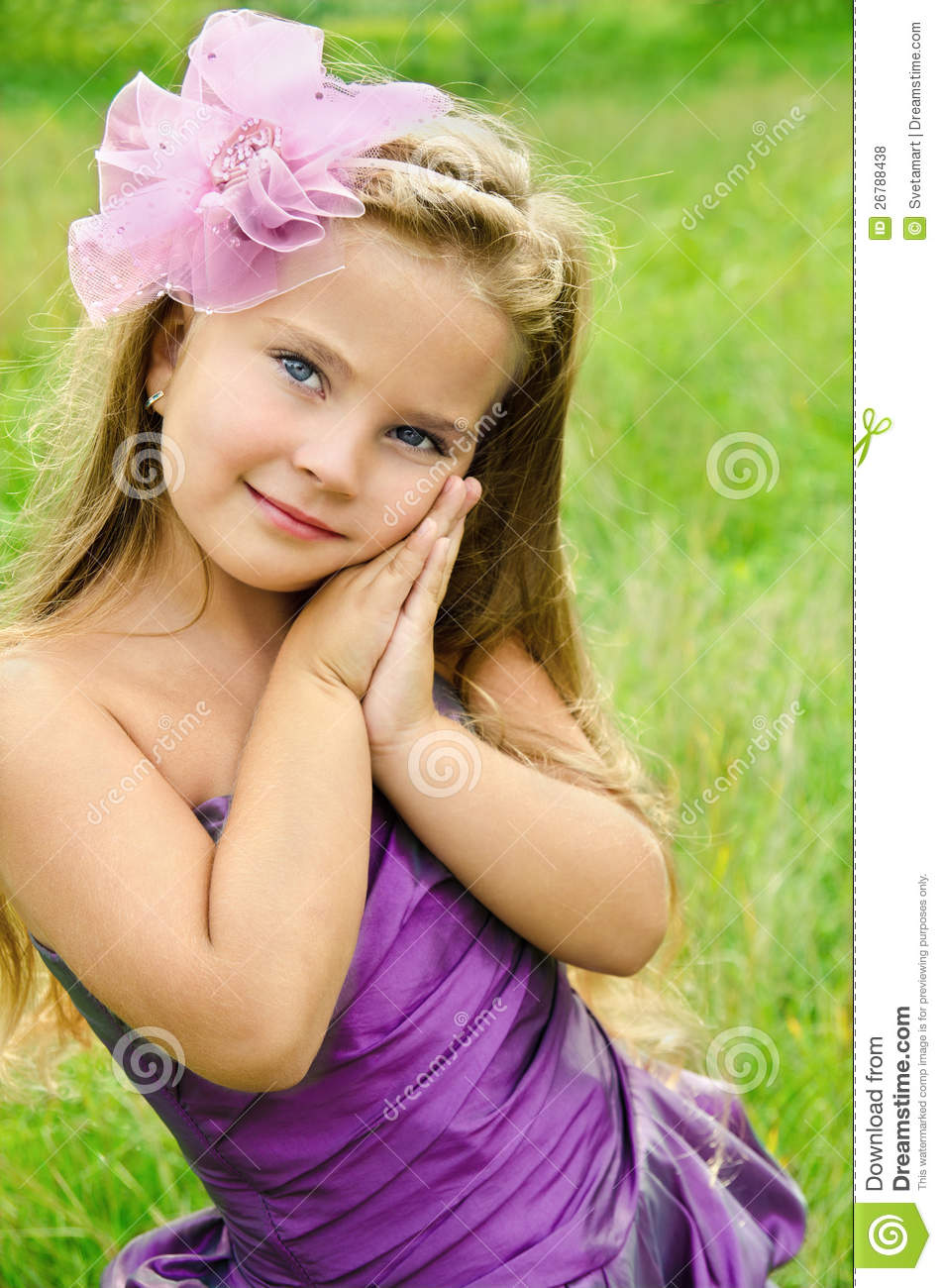 Little Girls Nails And Girls On Pinterest: Portrait Of Cute Little Girl In Princess Dress Stock Photo
