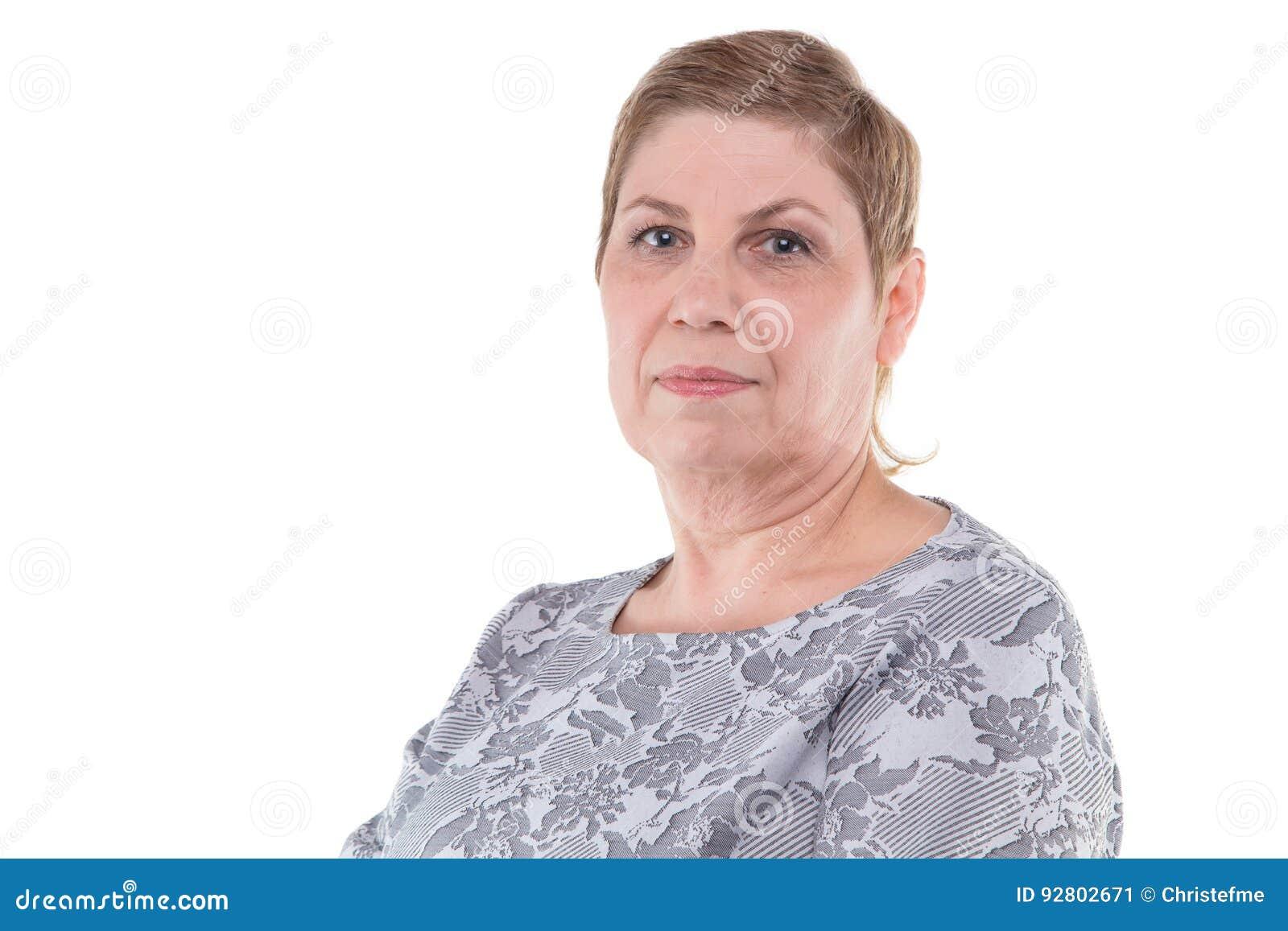 Portrait of cute senior blond woman