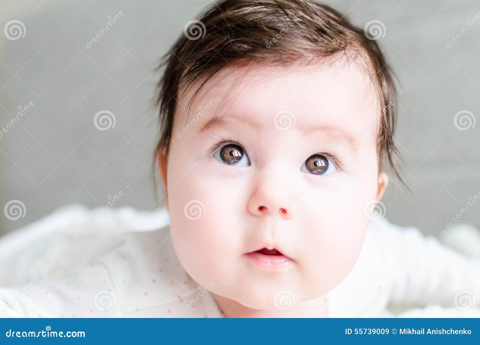 Portrait Of Cute Sweet Little Newborn Baby Girl Stock Image