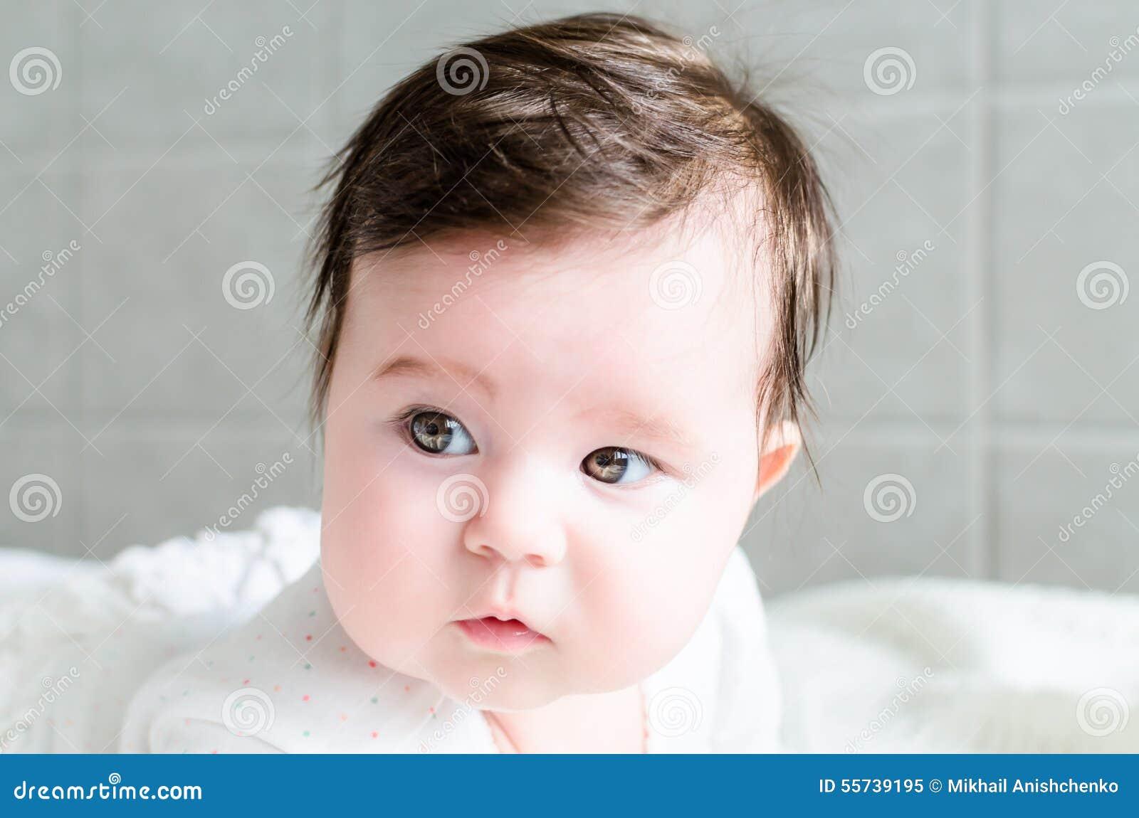 Portrait Of Cute Sweet Little Newborn Baby Girl Stock Image Image Of Childhood Female 55739195