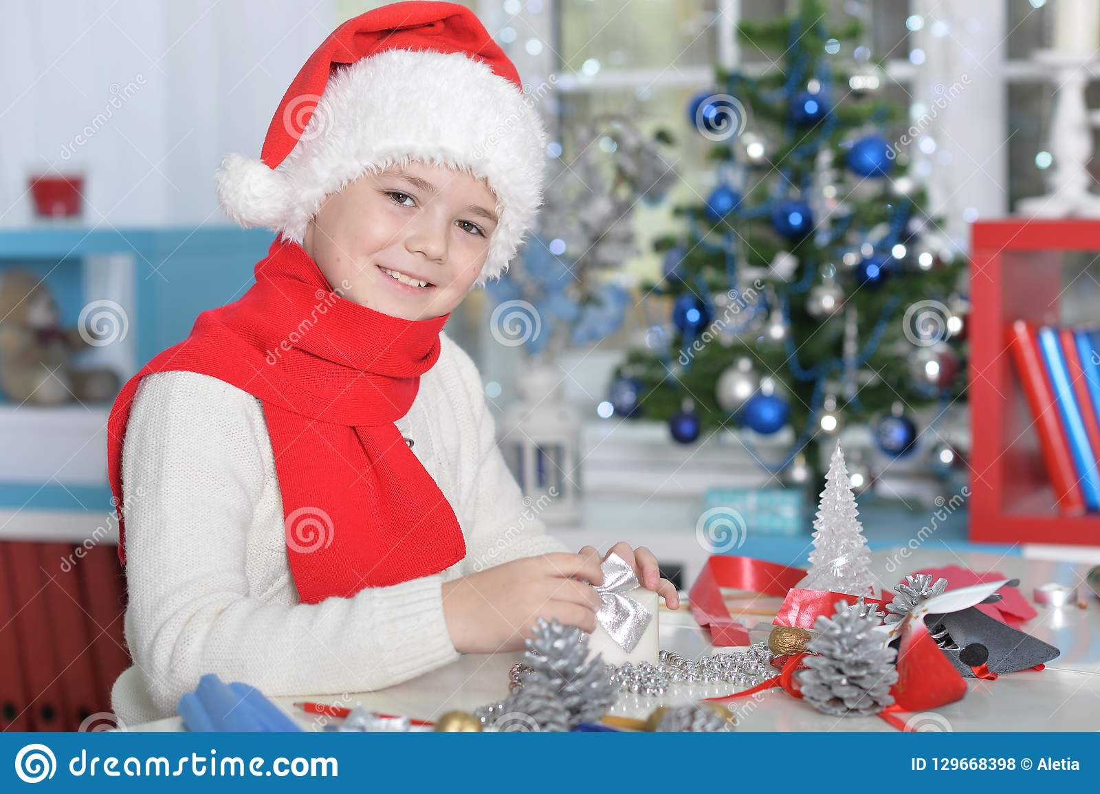 Teen Boy Christmas.Portrait Of Cute Teen Boy Preparing For Christmas Stock