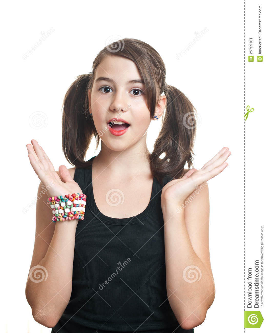 Stock Image Portrait Of Cute Teen Girl With Pony Tails