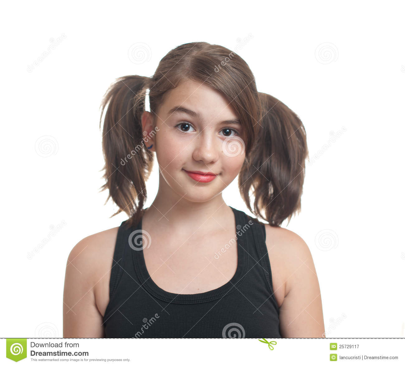 Portrait of cute teen girl with pony tails stock image for Cute teenager girls