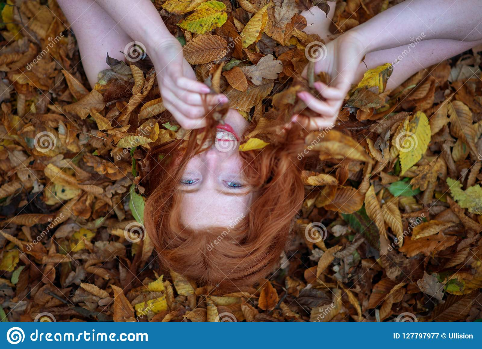 Portrait of a cute young lovely girl, covered with red and orange autumnal leaves. Beautiful woman lying on autumn leaves