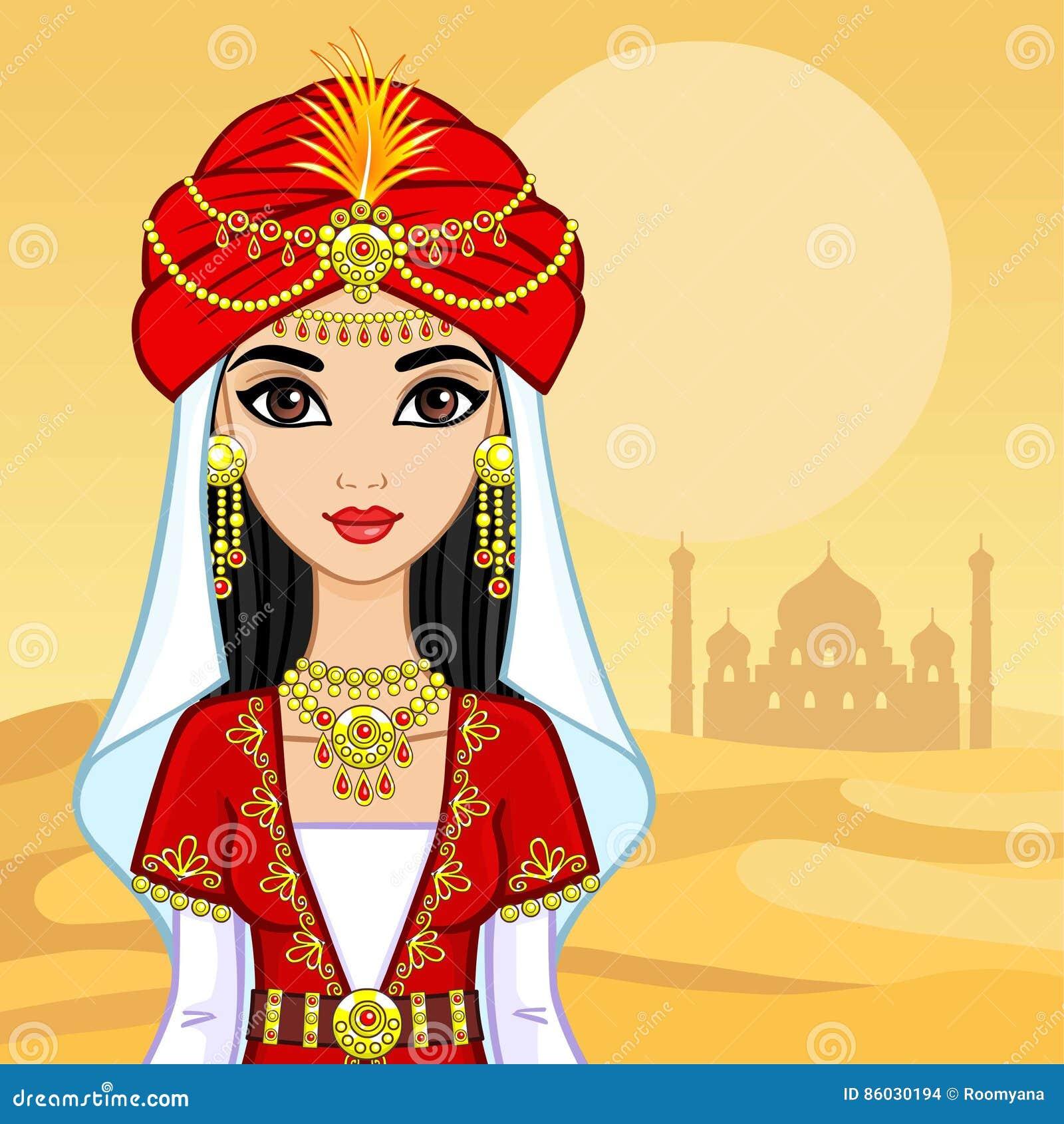 Portrait d animation de la princesse arabe dans des vêtements antiques