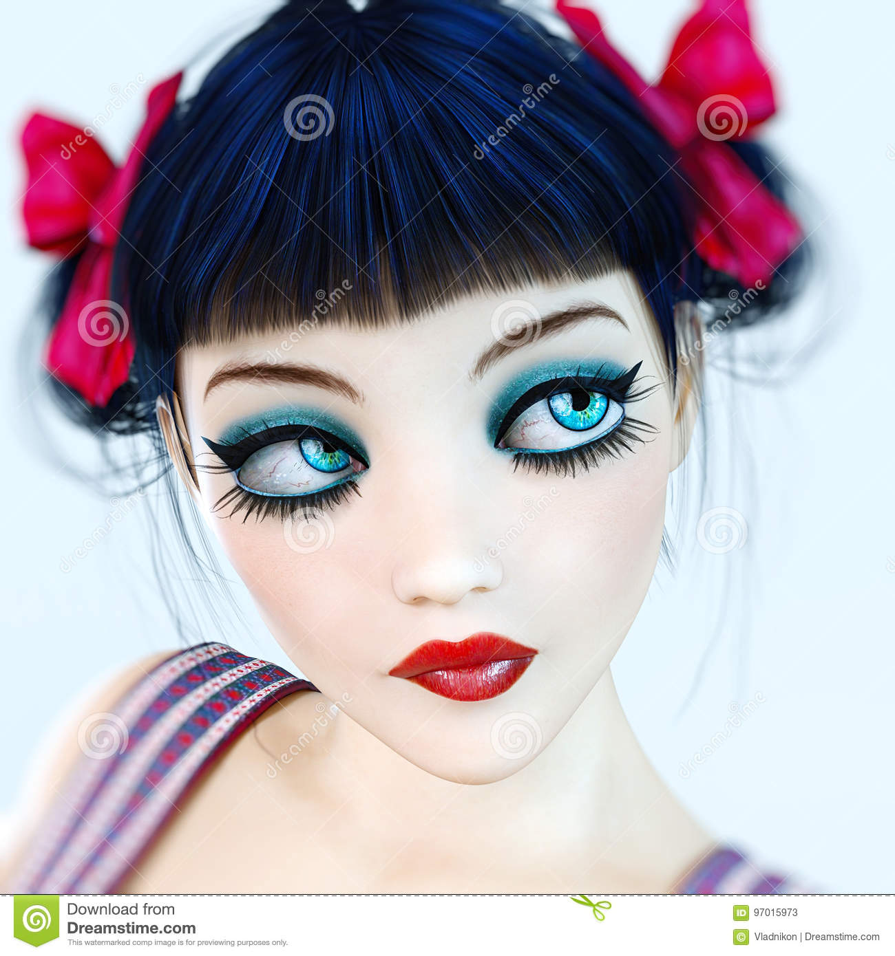 Portrait 3d Girl Doll Big Blue Eyes And Bright Makeup Stock