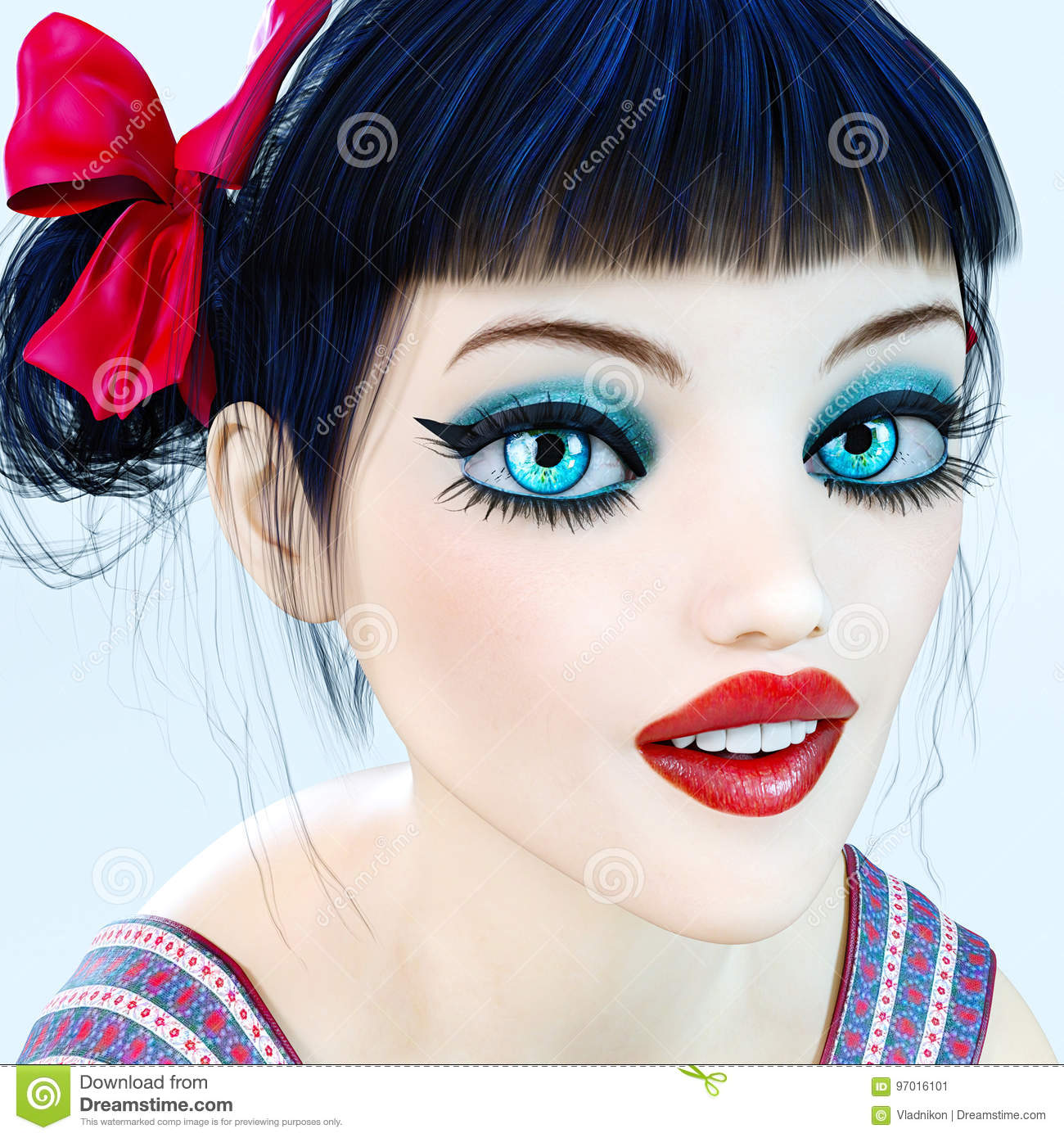 439d547ed8c Portrait 3D Girl Doll Big Blue Eyes And Bright Makeup. Stock ...