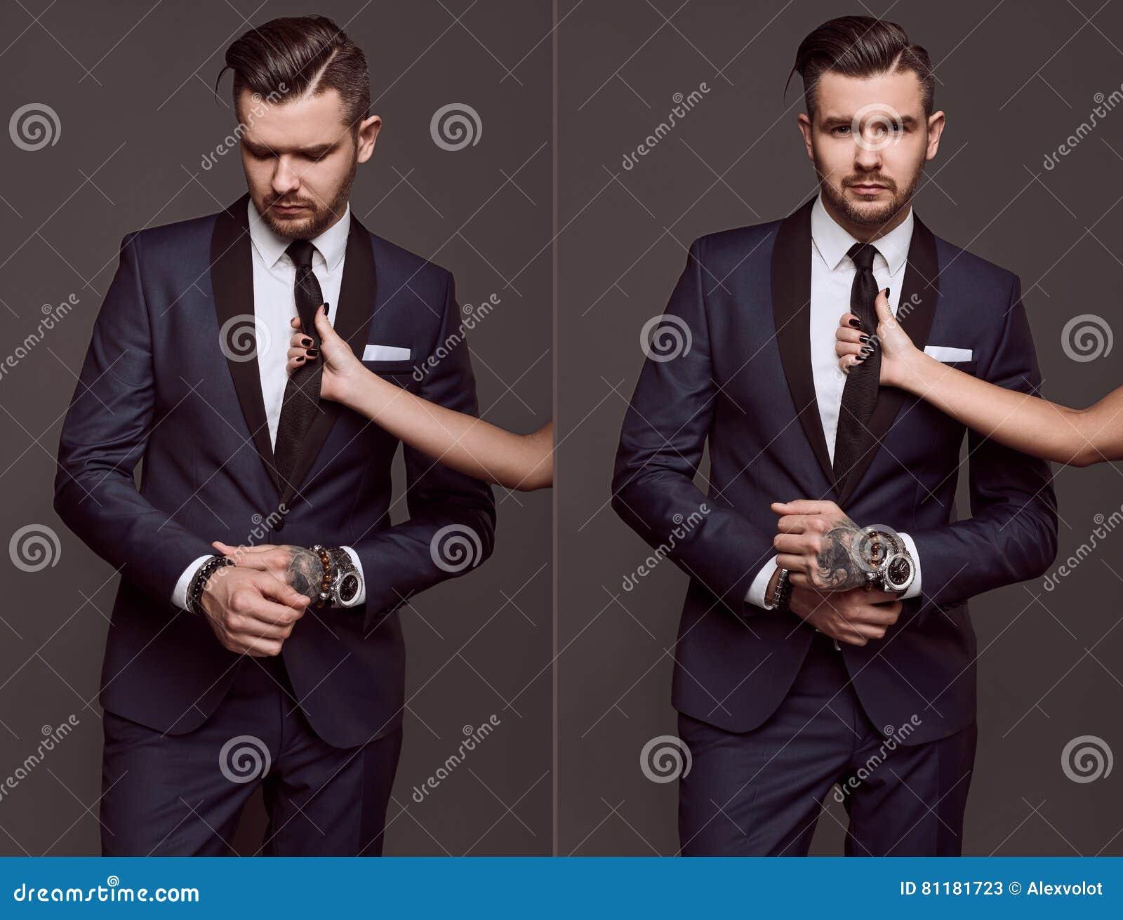 c37f70e31d07 Portrait D homme Brutal élégant Dans Un Costume Image stock - Image ...