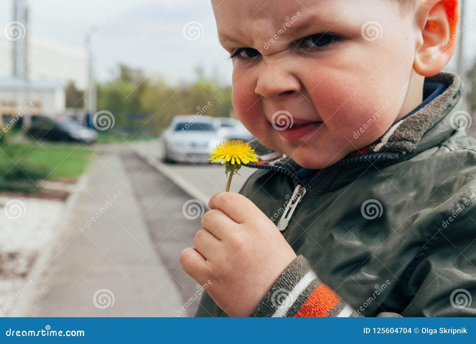 Portrait d un enfant, un garçon, avec les joues rouges de la température, des allergies l enfant a une réaction allergique le gar