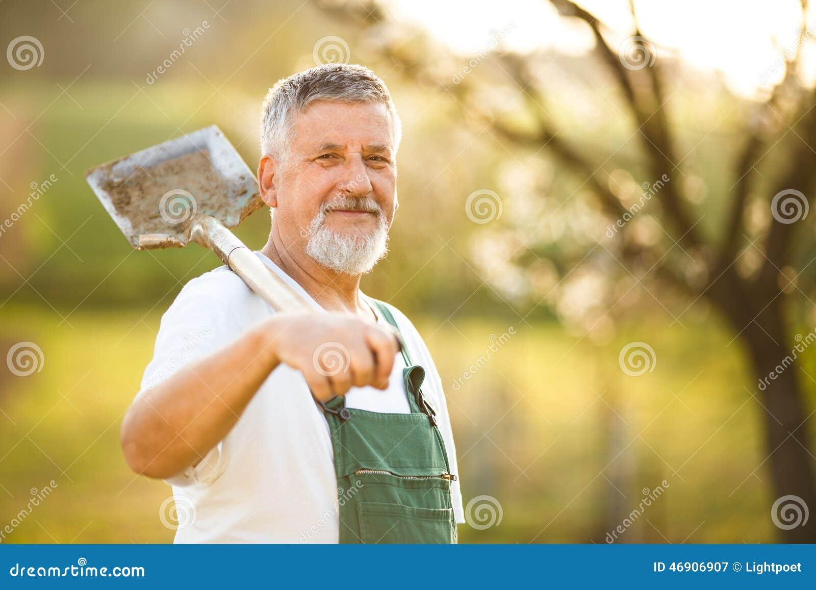 Portrait d un homme supérieur bel faisant du jardinage dans son jardin