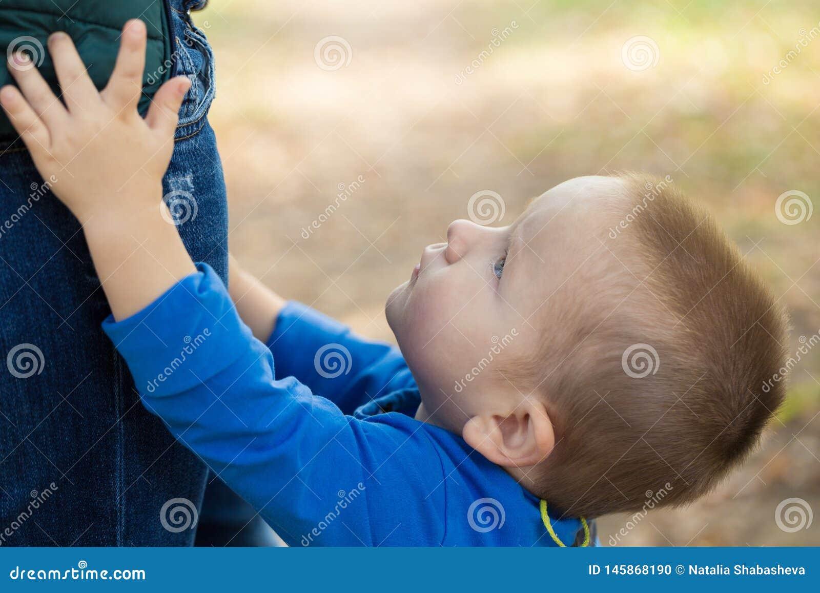Portrait d un petit garçon utilisant une veste bleue touchant sa maman un jour ensoleillé