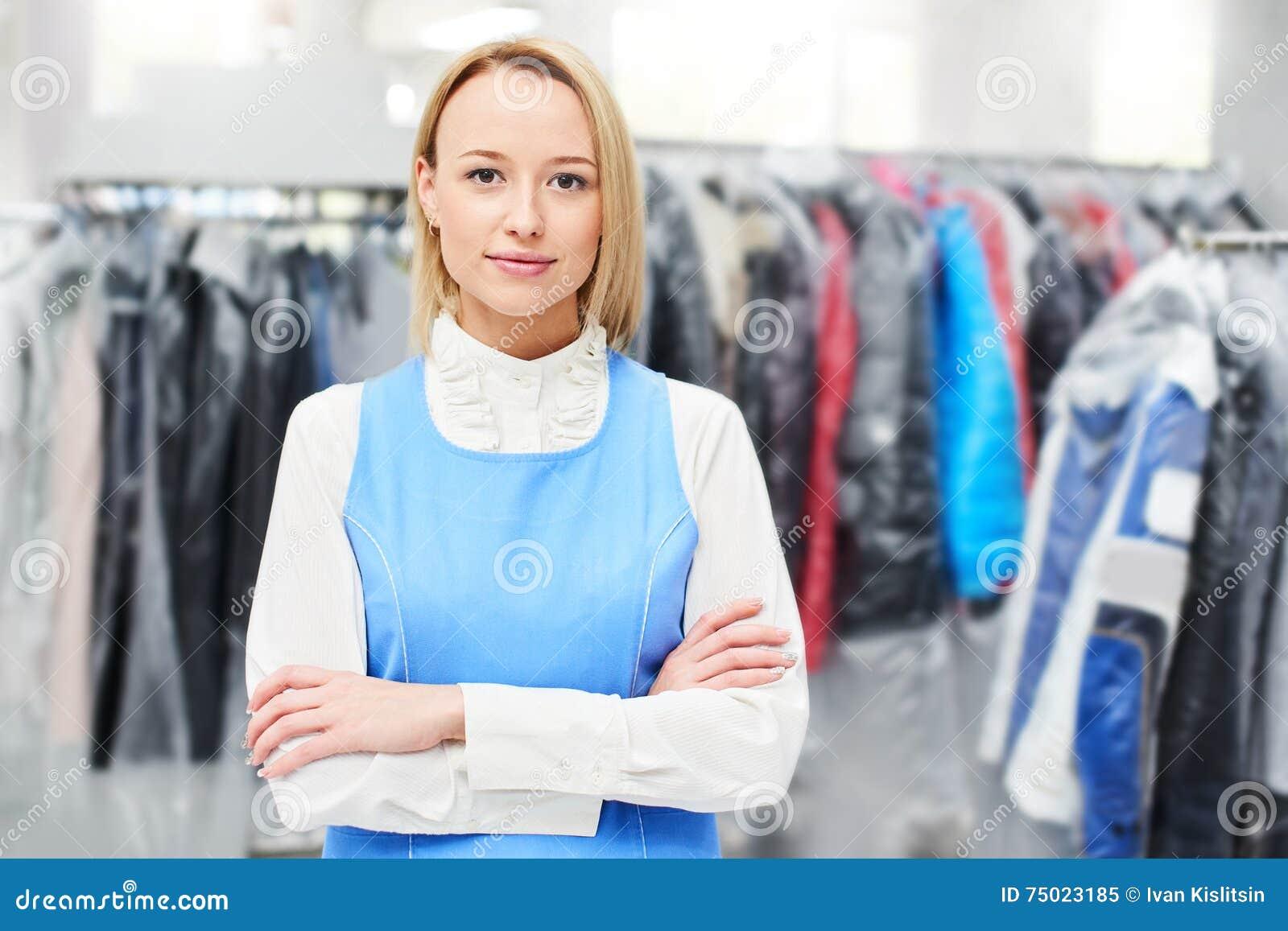 Portrait d un travailleur de blanchisserie de femme