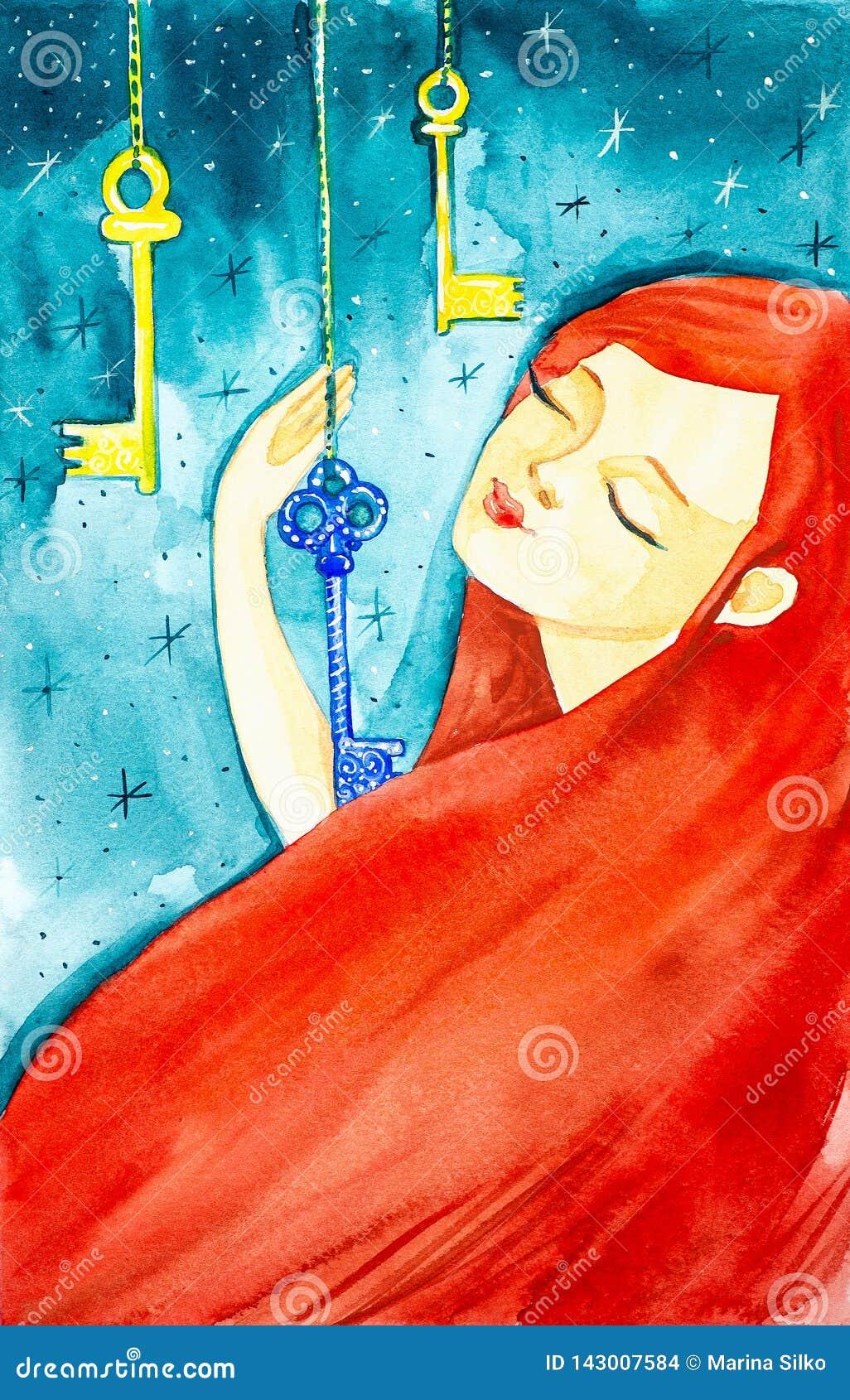 Portrait d une belle fille avec de longs cheveux rouges et yeux fermés La fille tient une des trois clés fabuleuses pendant du