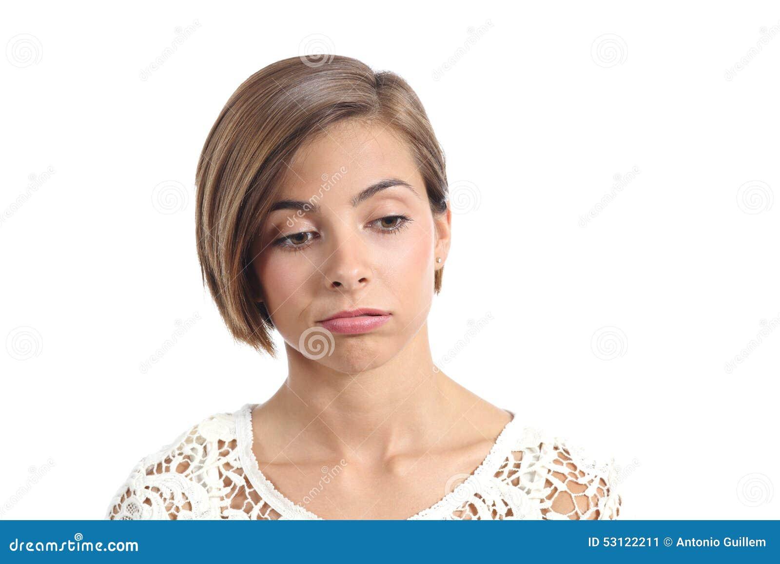 Portrait d une femme avec l expression ennuyée
