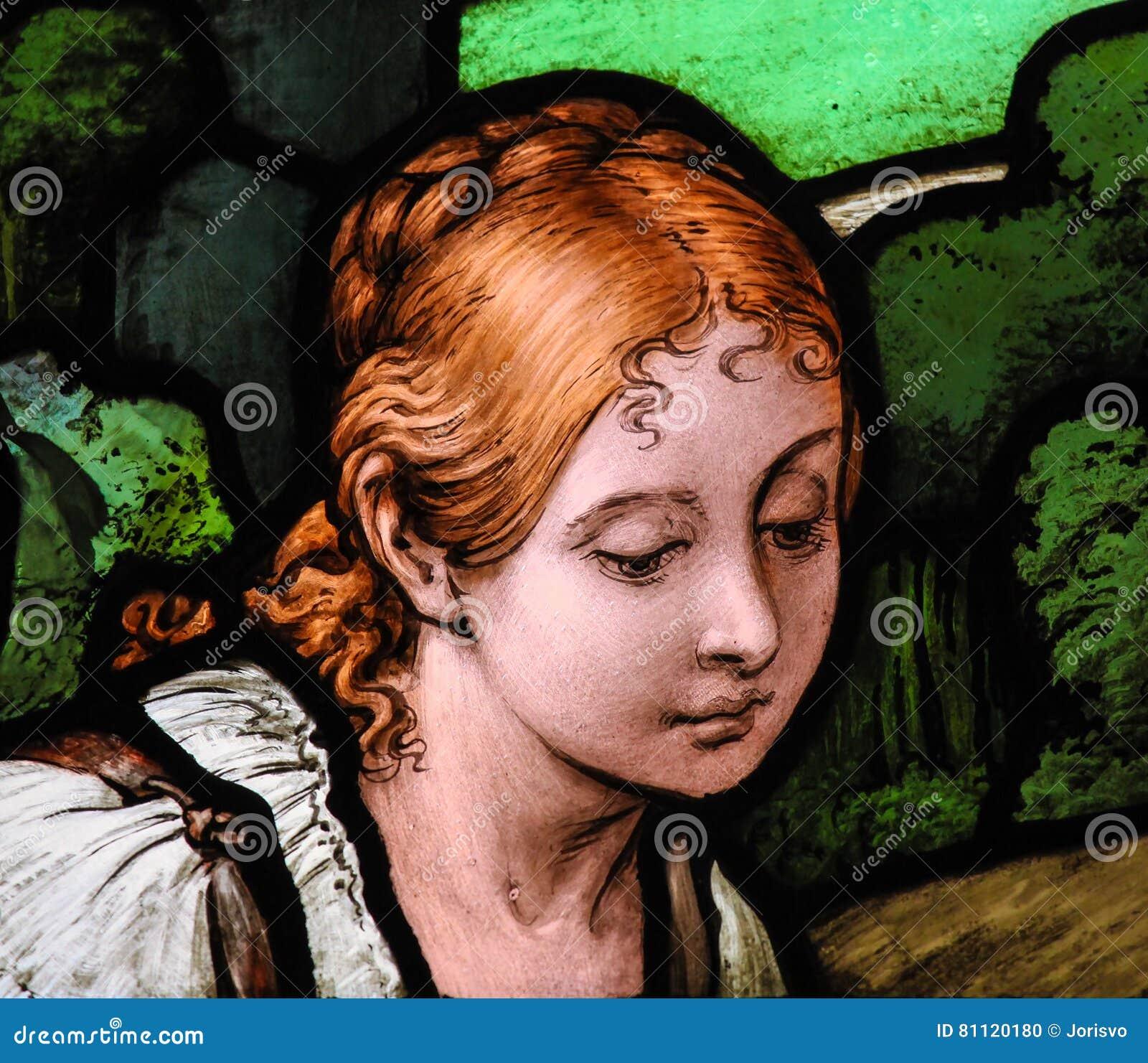 Femme Suedoise portrait d'une femme suédoise - verre souillé photo stock - image du