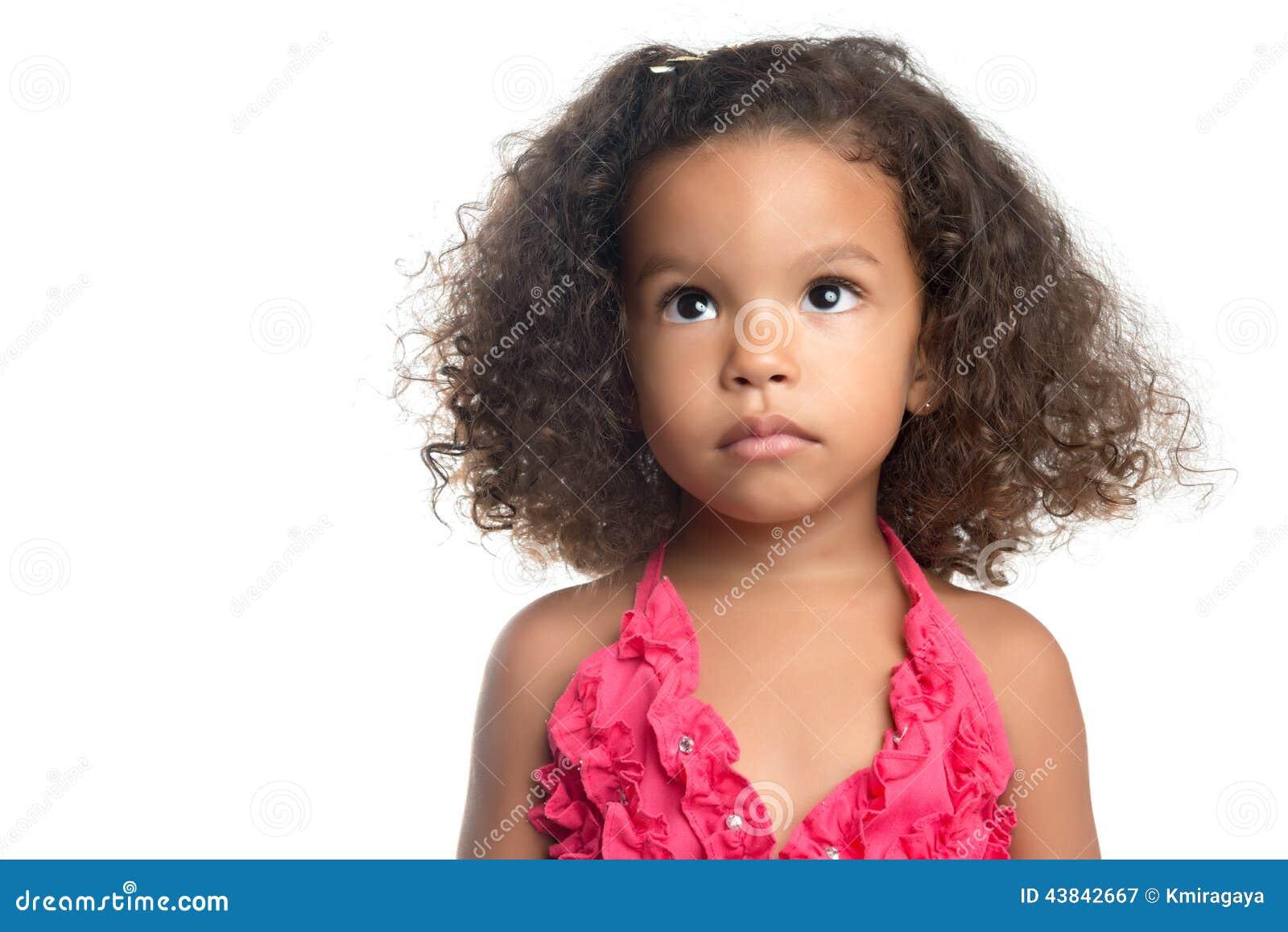 portrait d 39 une petite fille avec une coiffure afro photo stock image 43842667. Black Bedroom Furniture Sets. Home Design Ideas