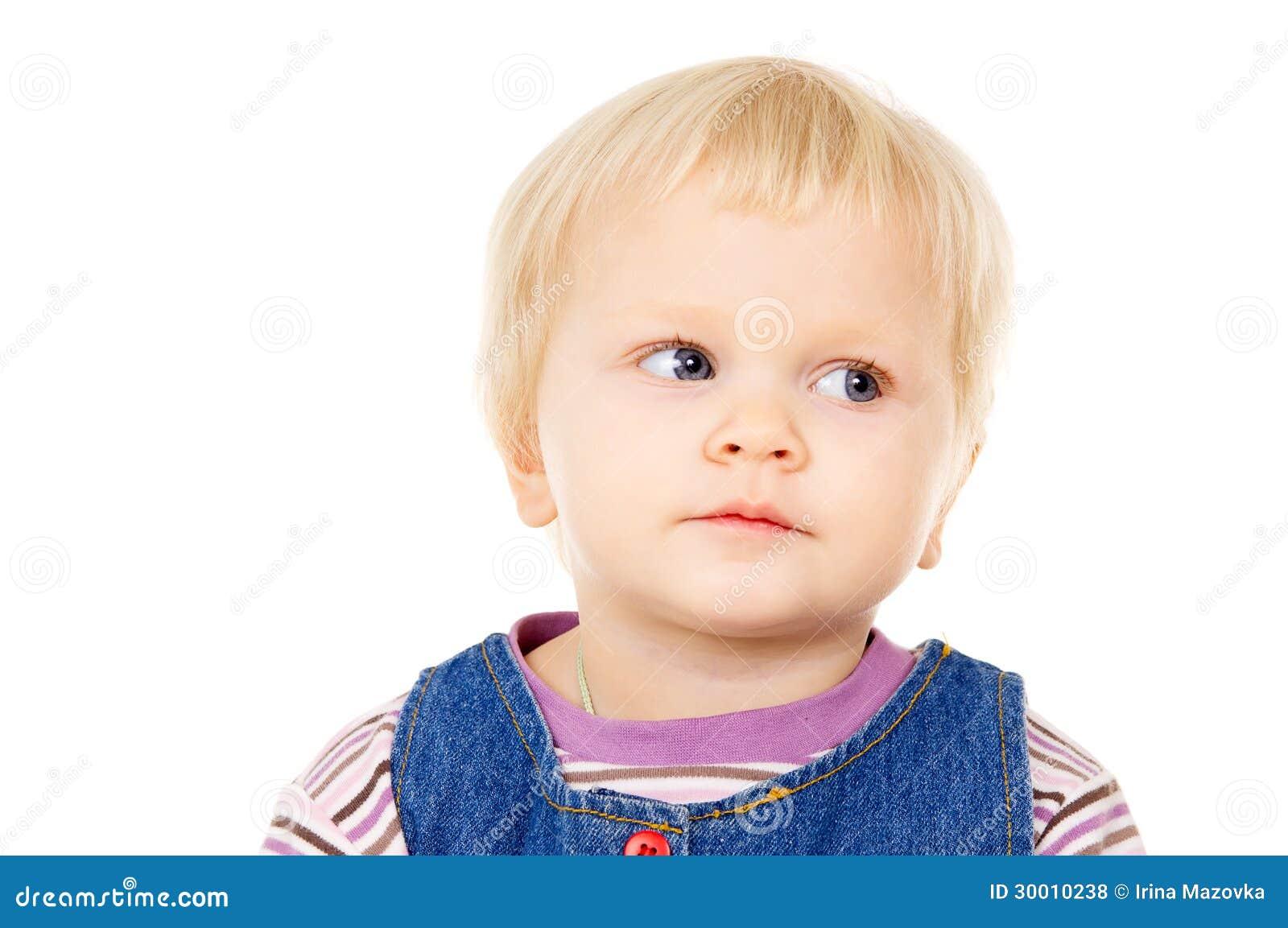 portrait d 39 une petite fille blonde aux yeux bleus photos libres de droits image 30010238. Black Bedroom Furniture Sets. Home Design Ideas