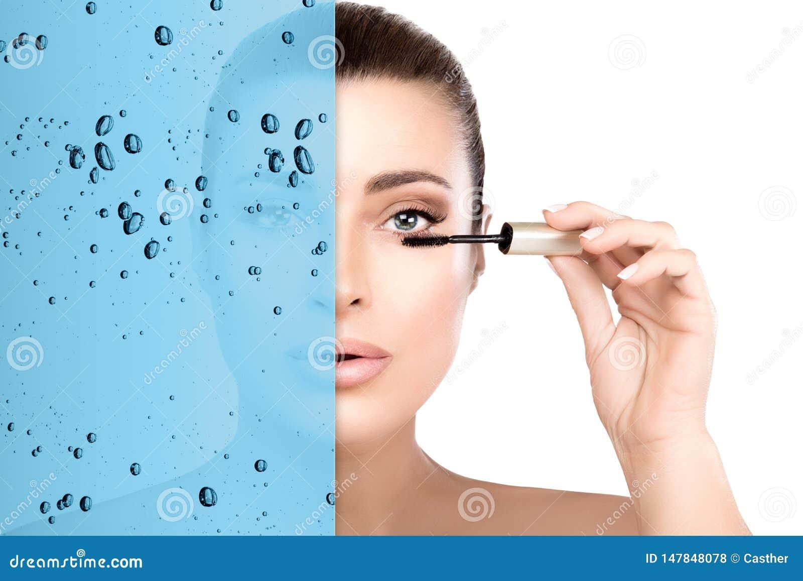 Portrait de beauté avec le concept résistant à l eau de mascara Mascara de application mod?le de beaut? magnifique