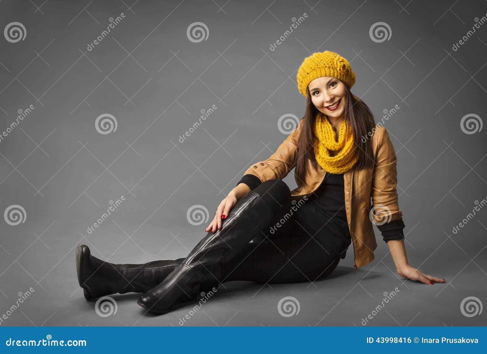 Portrait de beauté de mode de femme, Girl In modèle Autumn Season
