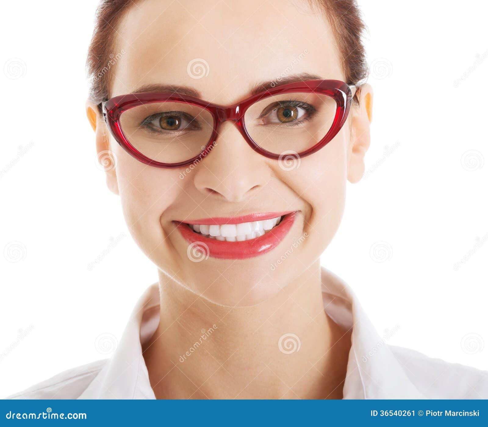 portrait de belle femme d 39 affaires dans des lunettes rouges image stock image 36540261. Black Bedroom Furniture Sets. Home Design Ideas