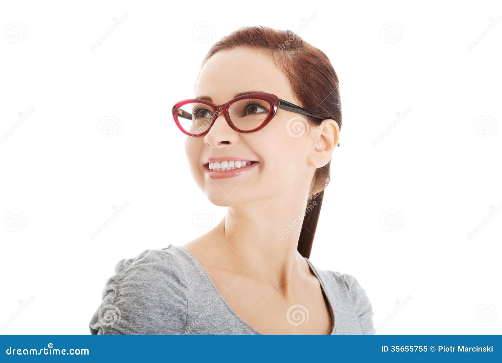 portrait de belle femme dans des lunettes rouges photo libre de droits image 35655755. Black Bedroom Furniture Sets. Home Design Ideas