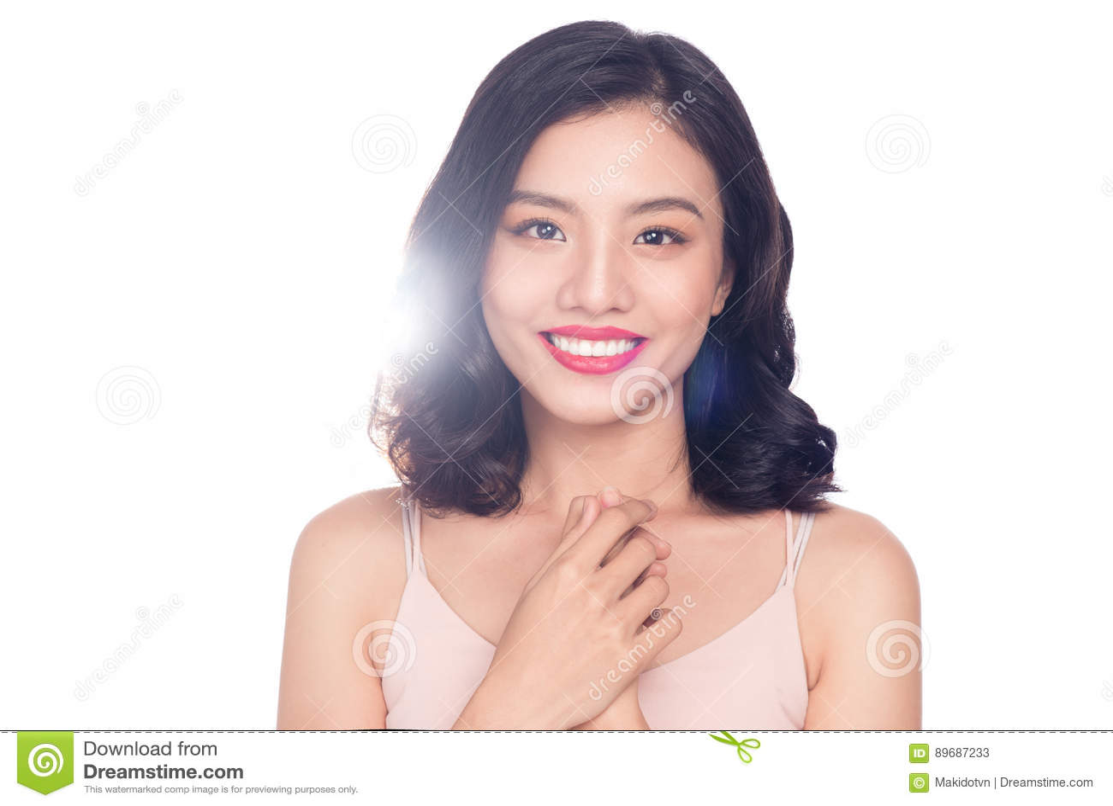 portrait de charme de beau mod le asiatique de femme avec le maquillage gentil image stock. Black Bedroom Furniture Sets. Home Design Ideas