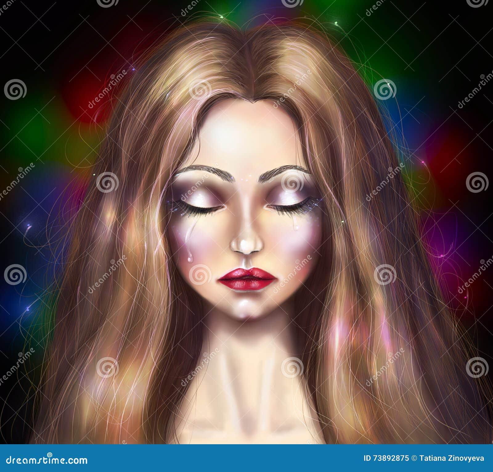 Fille Qui Pleure portrait de dessin d'une belle fille qui pleure illustration stock