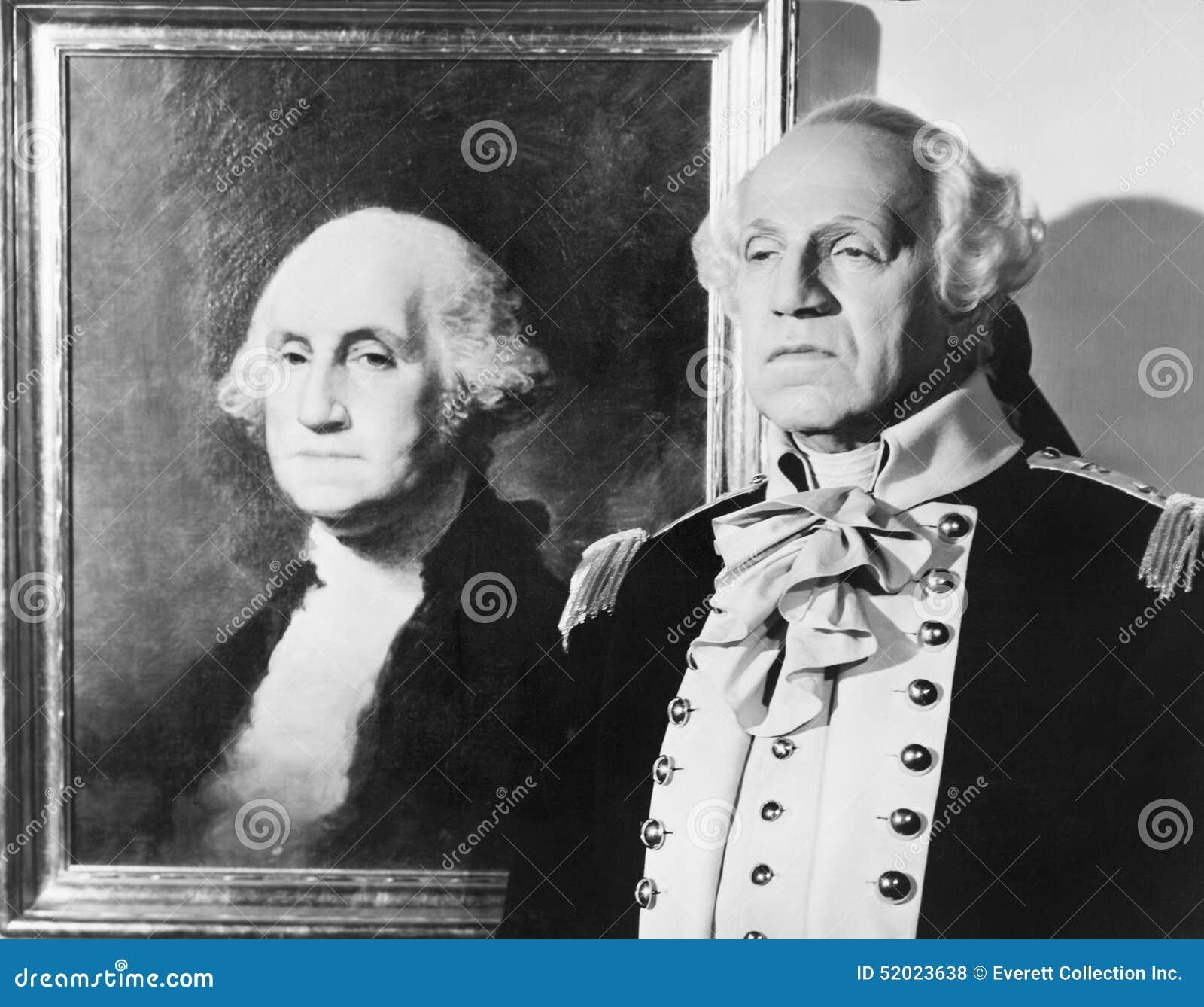 Portrait de George Washington avec un imitateur à côté de l image (toutes les personnes représentées ne sont pas plus long vivant