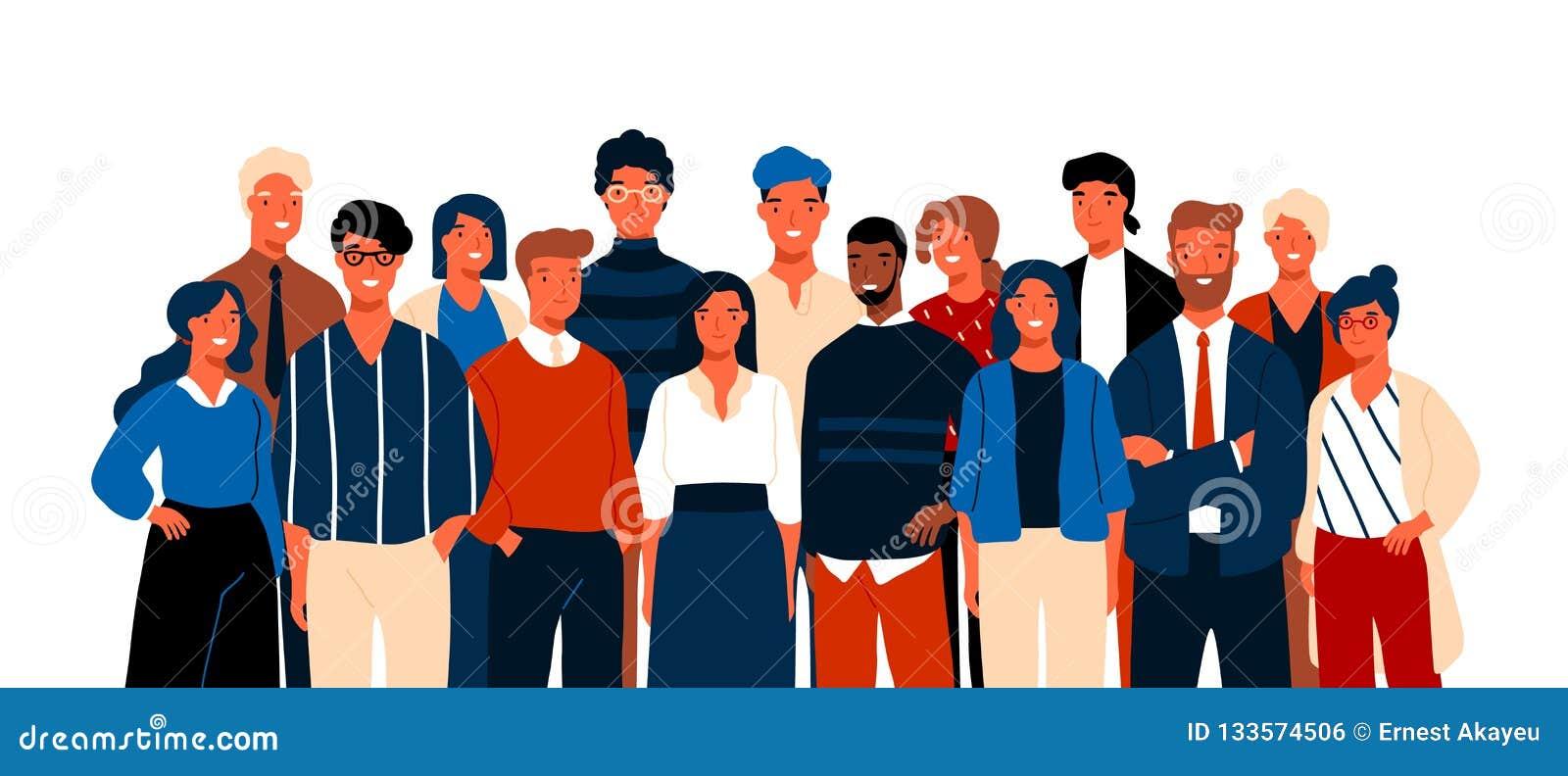 Portrait de groupe des employés de bureau ou des commis de sourire drôles se tenant ensemble Équipe de mâle gai mignon et femelle