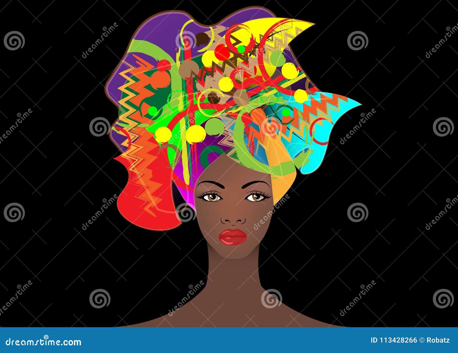 Portrait de la jeune femme africaine dans un turban coloré Enveloppez la mode d Afro, Ankara, Kente, kitenge, robes africaines de