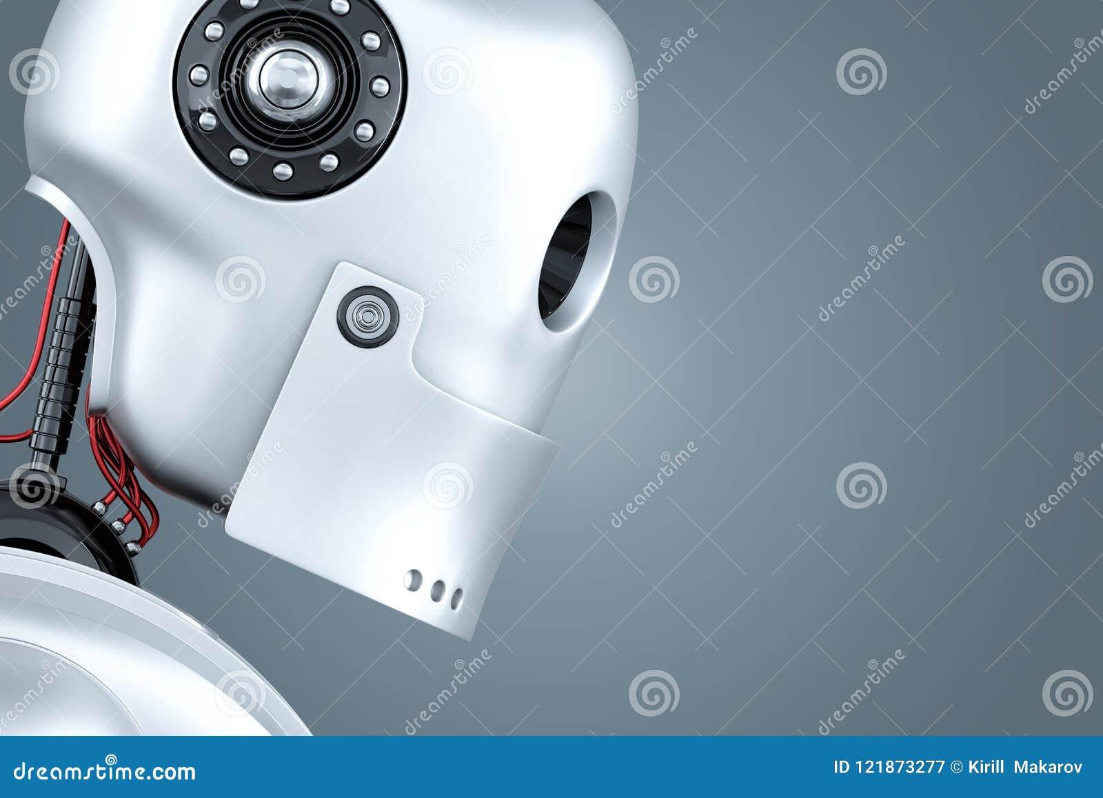 Portrait de plan rapproché de robot illustration 3D Contient le chemin de coupure
