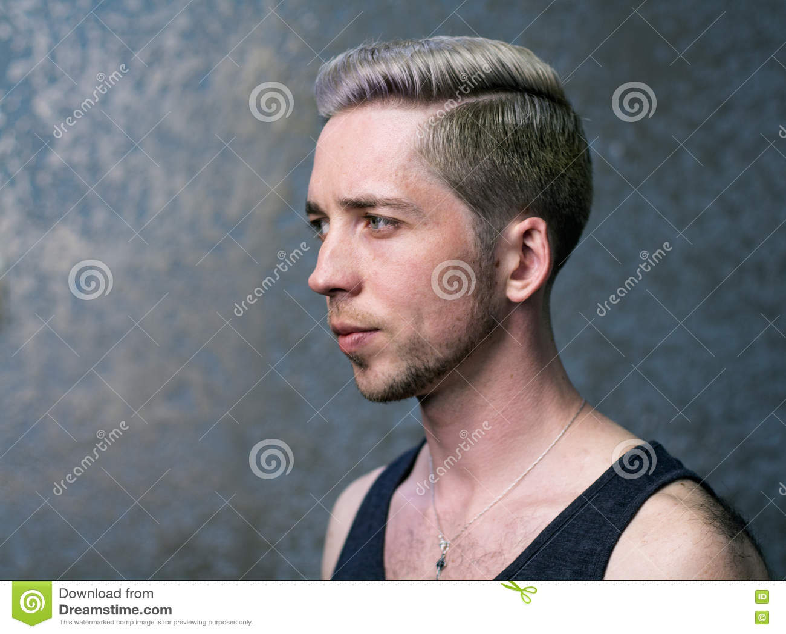 Portrait De Profil D Un Jeune Homme Blond Photo Stock Image Du