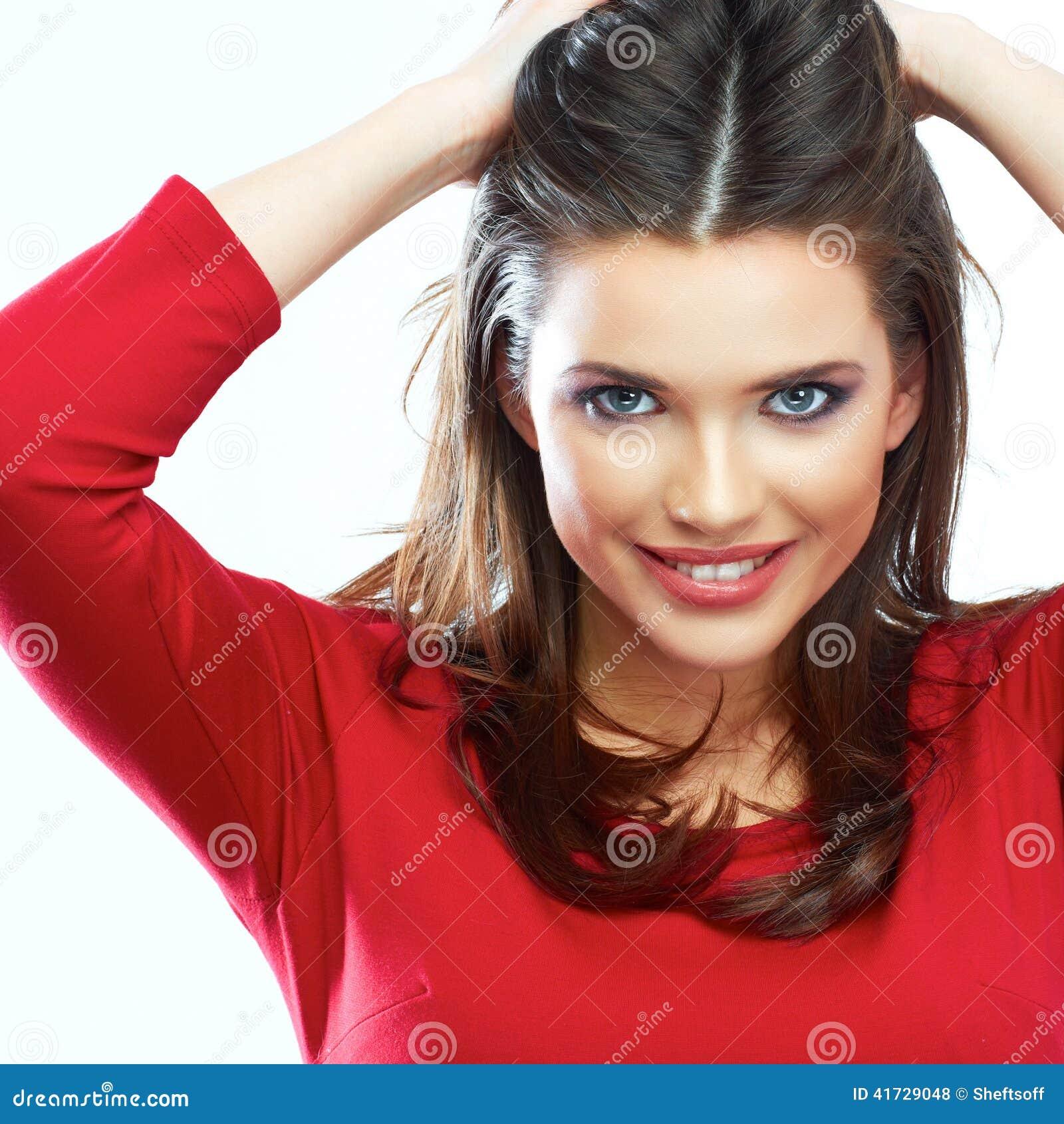 Portrait de sourire de beauté de cheveux de femme Bel isolant de sourire de fille