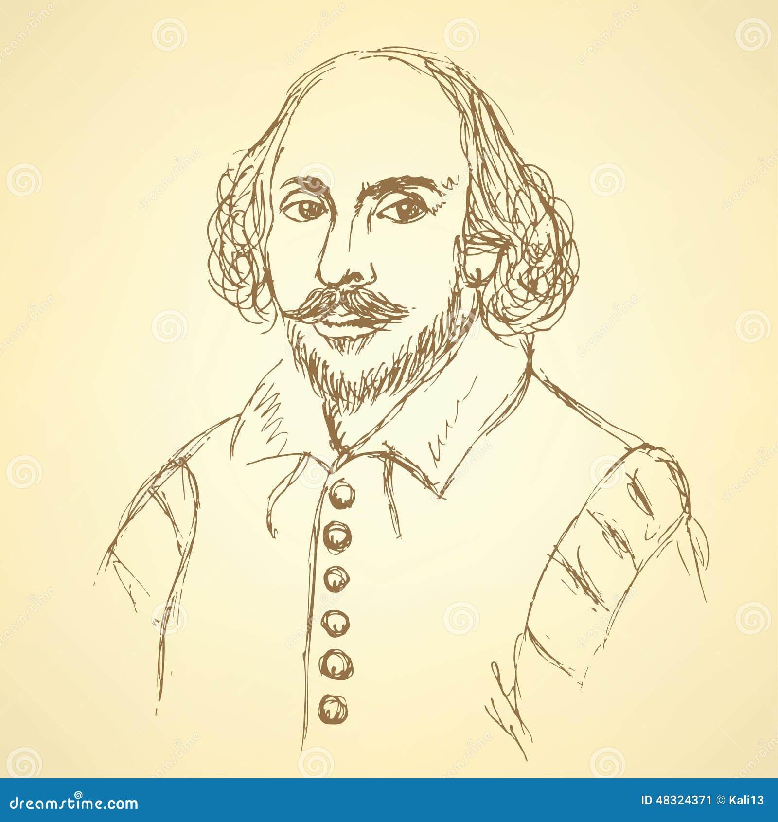 Portrait de William Shakespeare de croquis dans le style de vintage