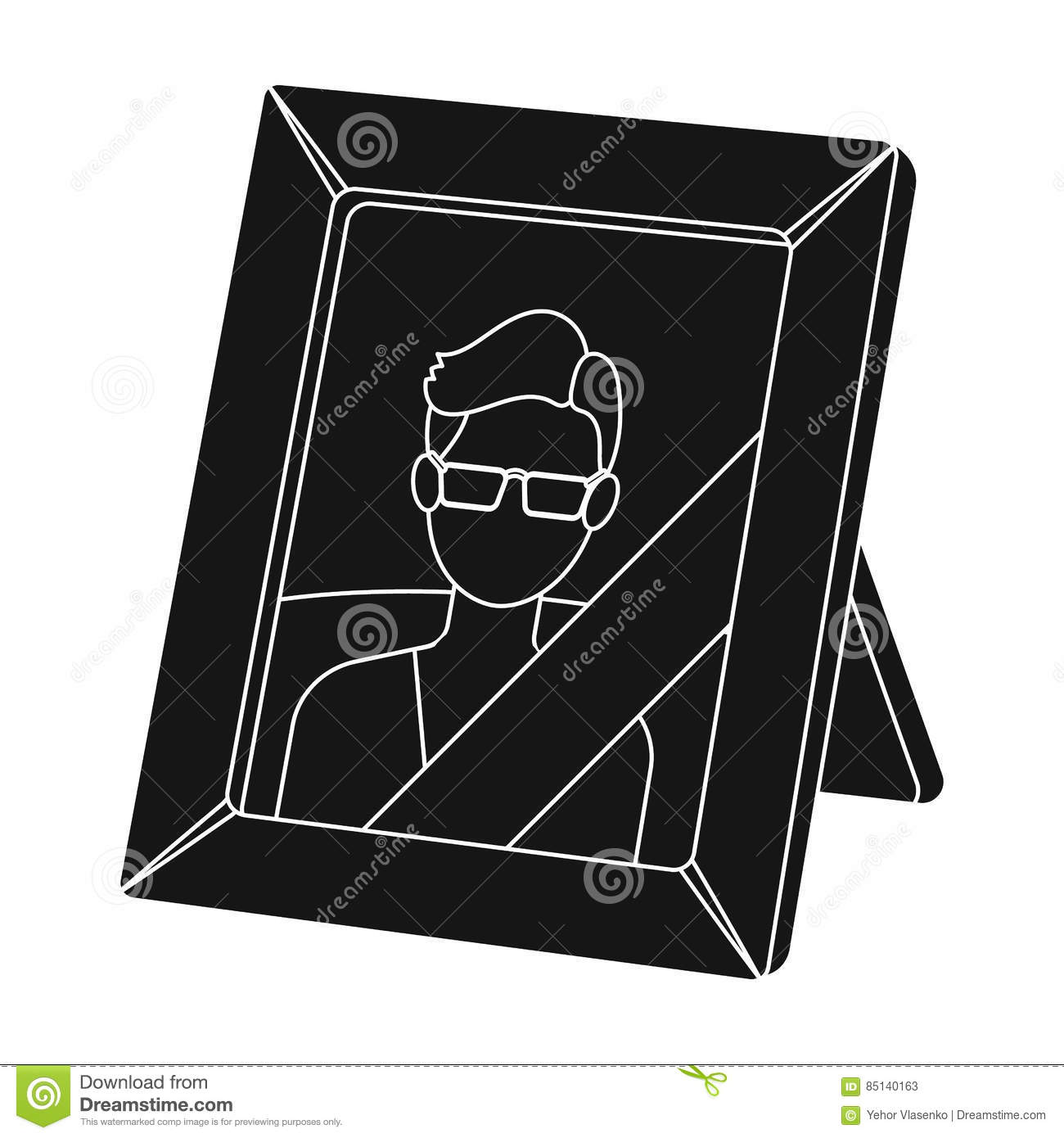 Portrait of deceased person icon in black style isolated on white background. Funeral ceremony symbol stock vector