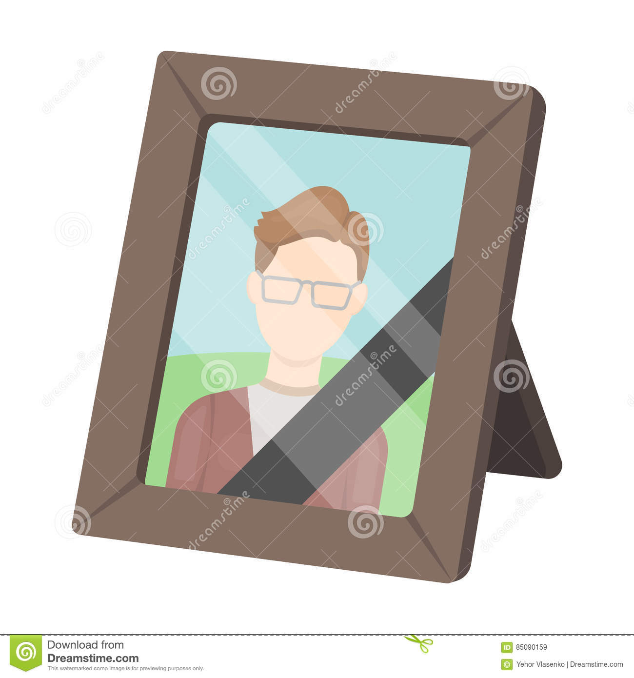 Portrait of deceased person icon in cartoon style on white background. Funeral ceremony symbol stock vector