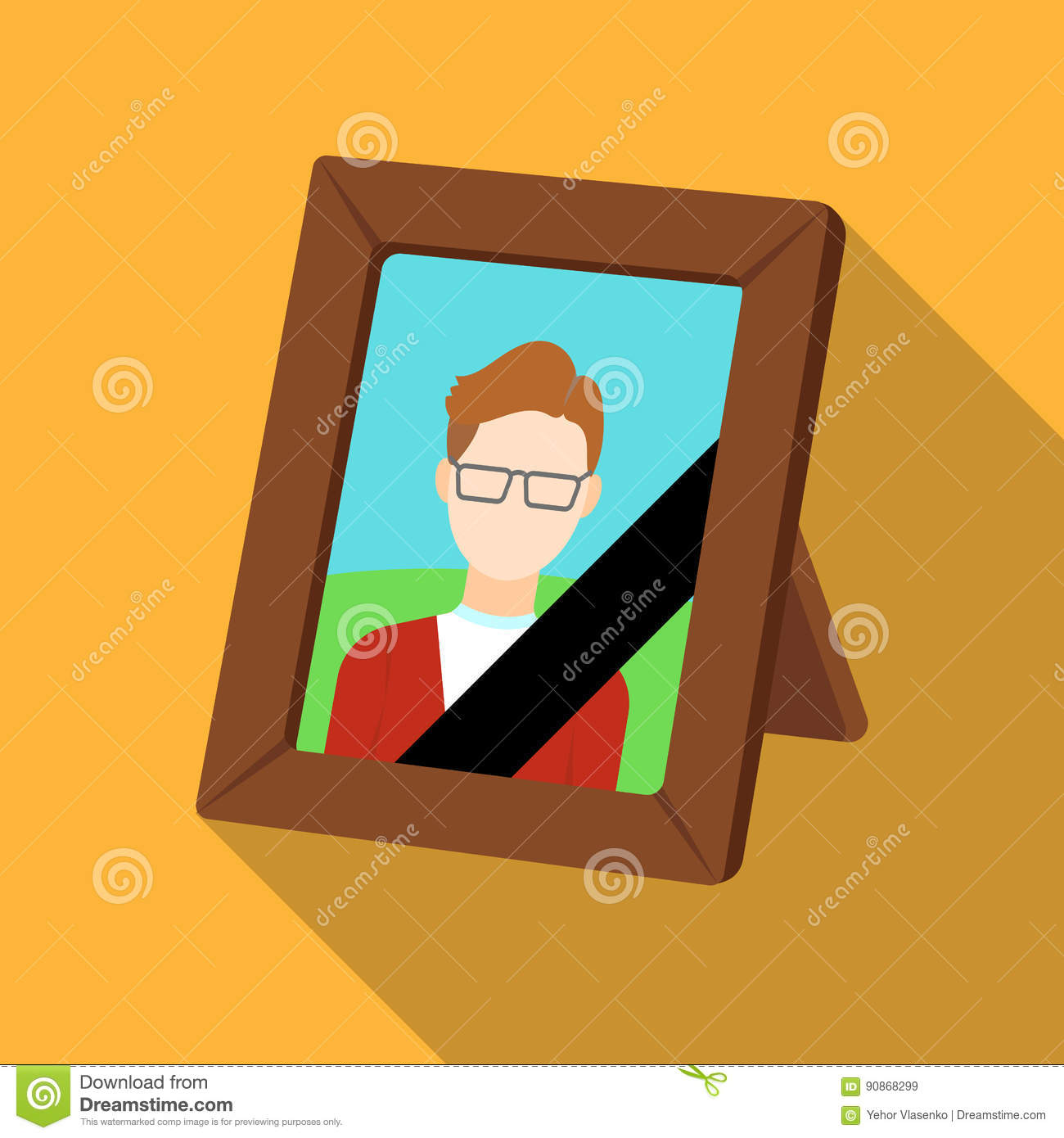 Portrait of deceased person icon in flat style isolated on white background. Funeral ceremony symbol stock vector