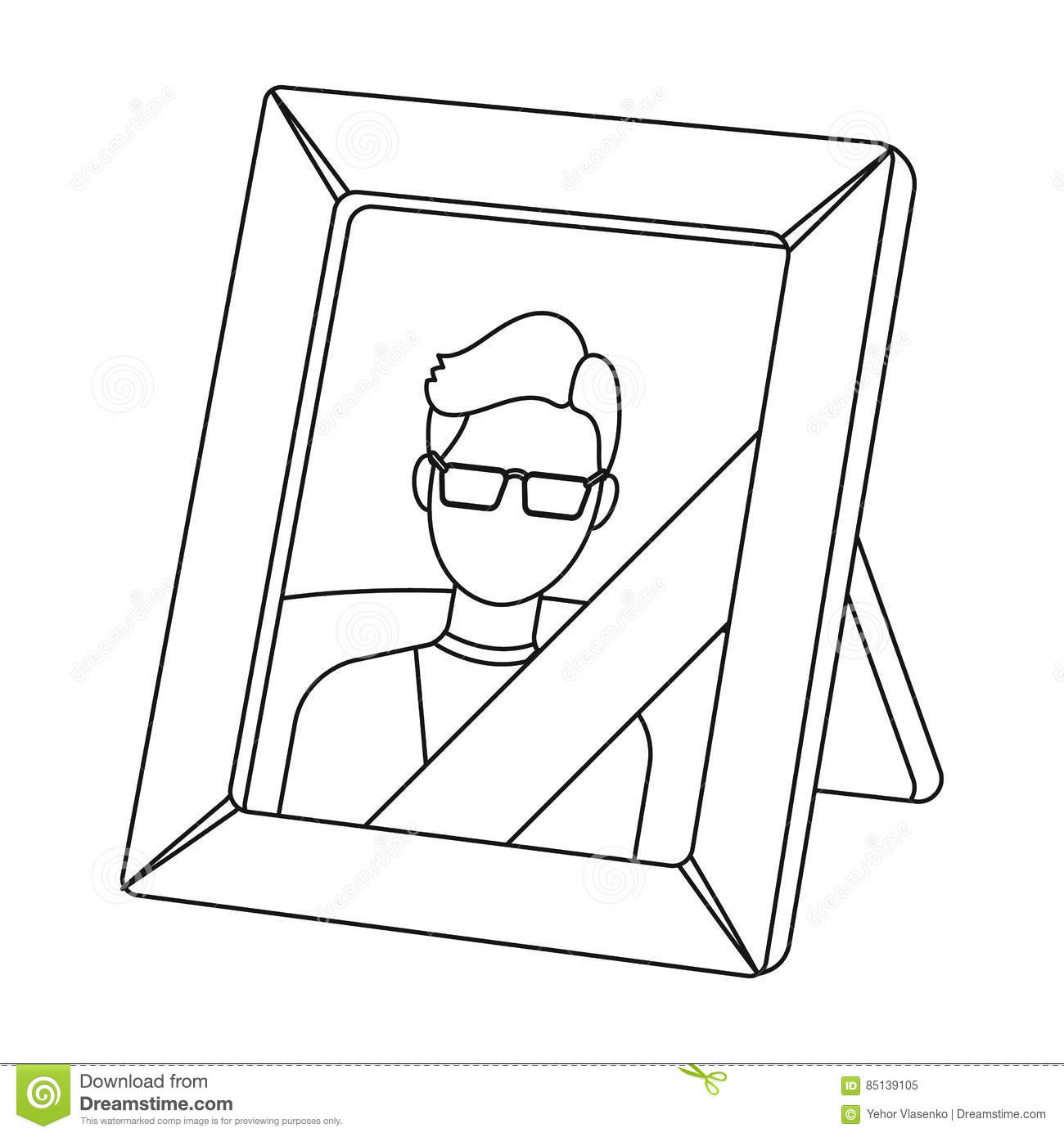 Portrait of deceased person icon in outline style isolated on white background. Funeral ceremony symbol stock vector