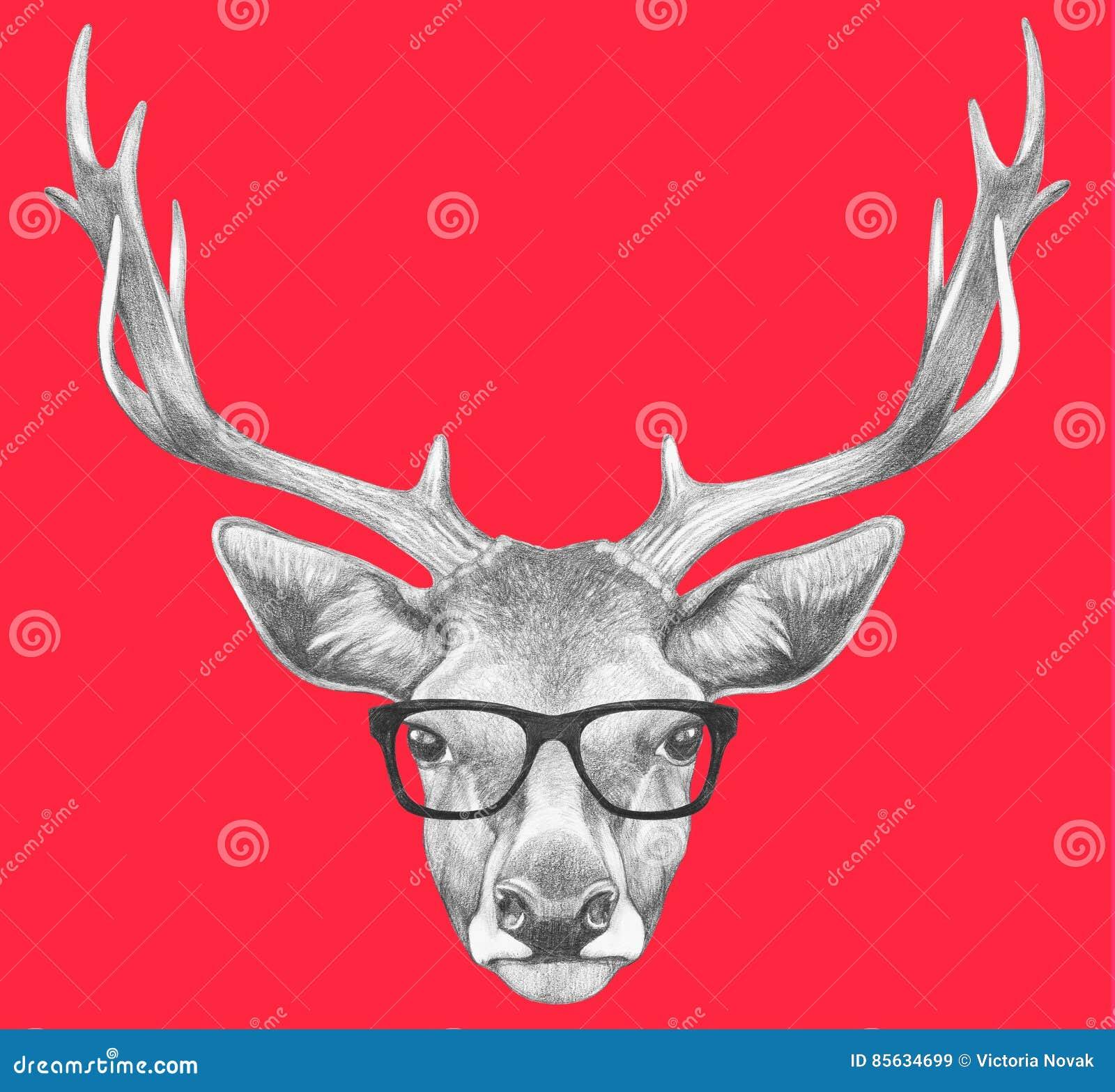 77a30c14a5f Portrait Of Deer With Glasses. Stock Illustration - Illustration of ...