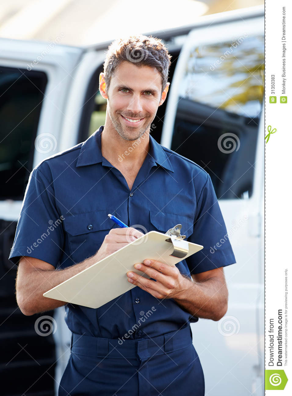 Portrait Of Delivery Driver With Clipboard Stock Photos - Image ...