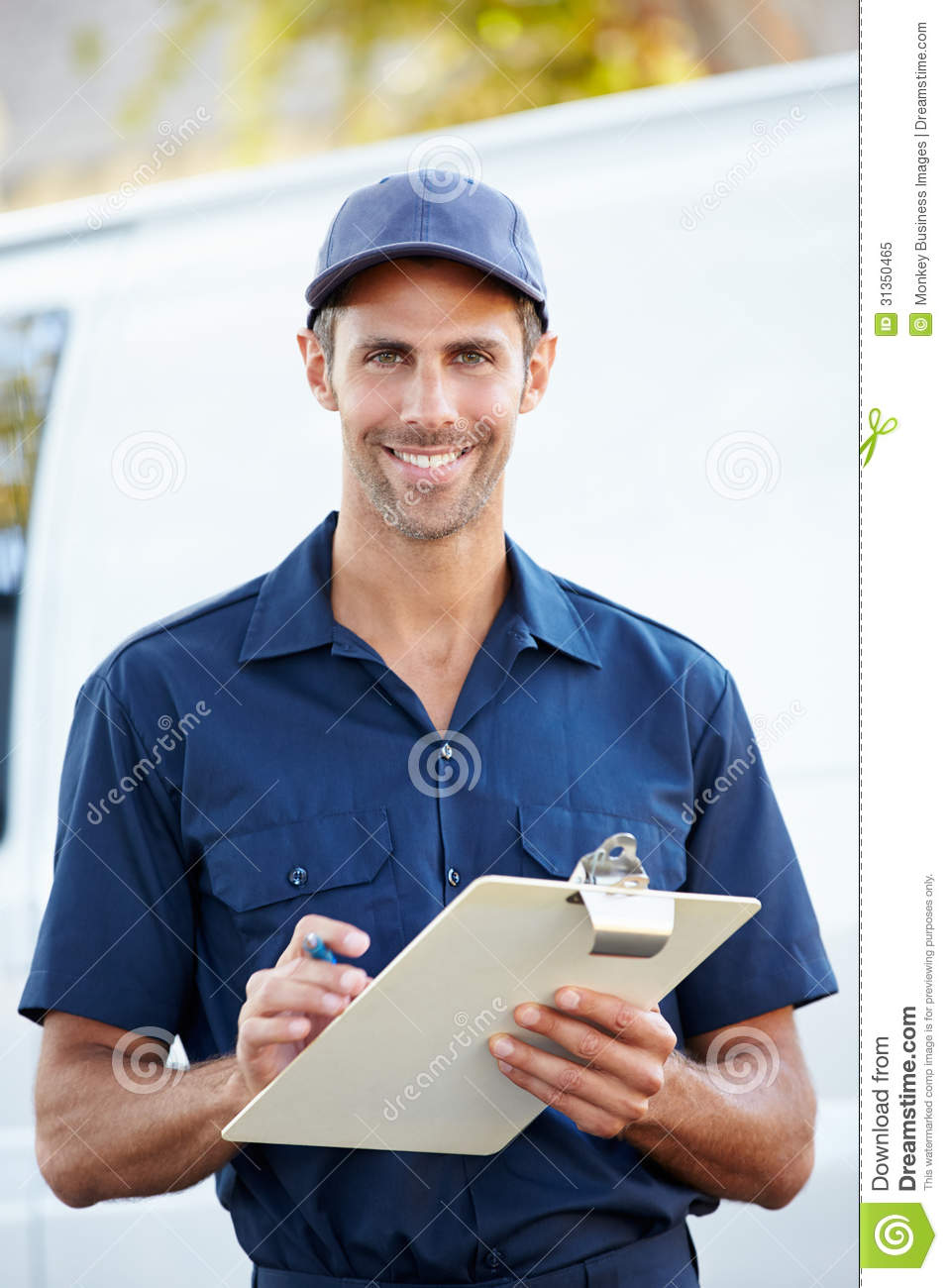 Portrait Of Delivery Driver With Clipboard Royalty Free Stock ...