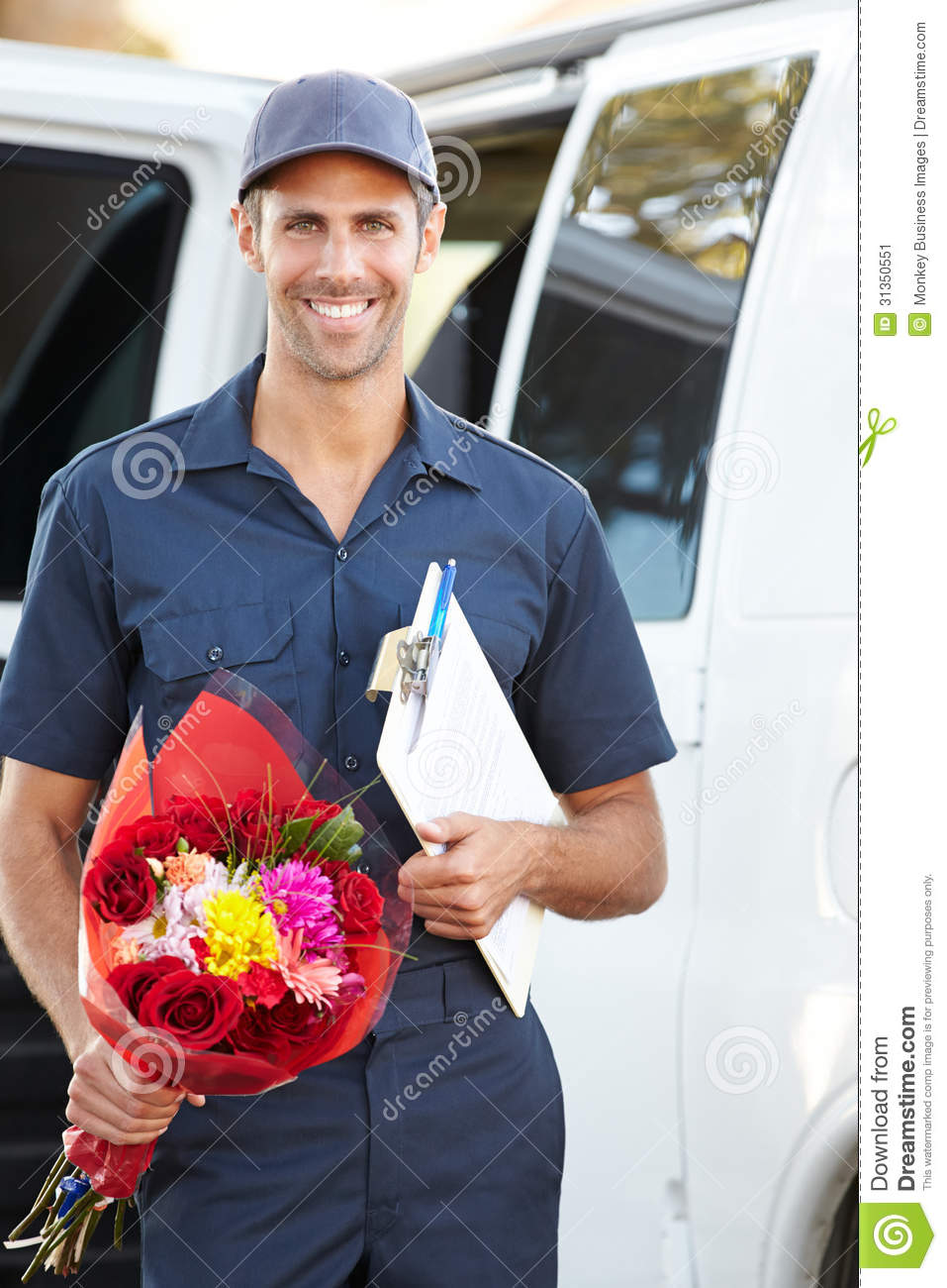 Portrait Of Delivery Driver With Flowers Stock Image - Image: 31350551