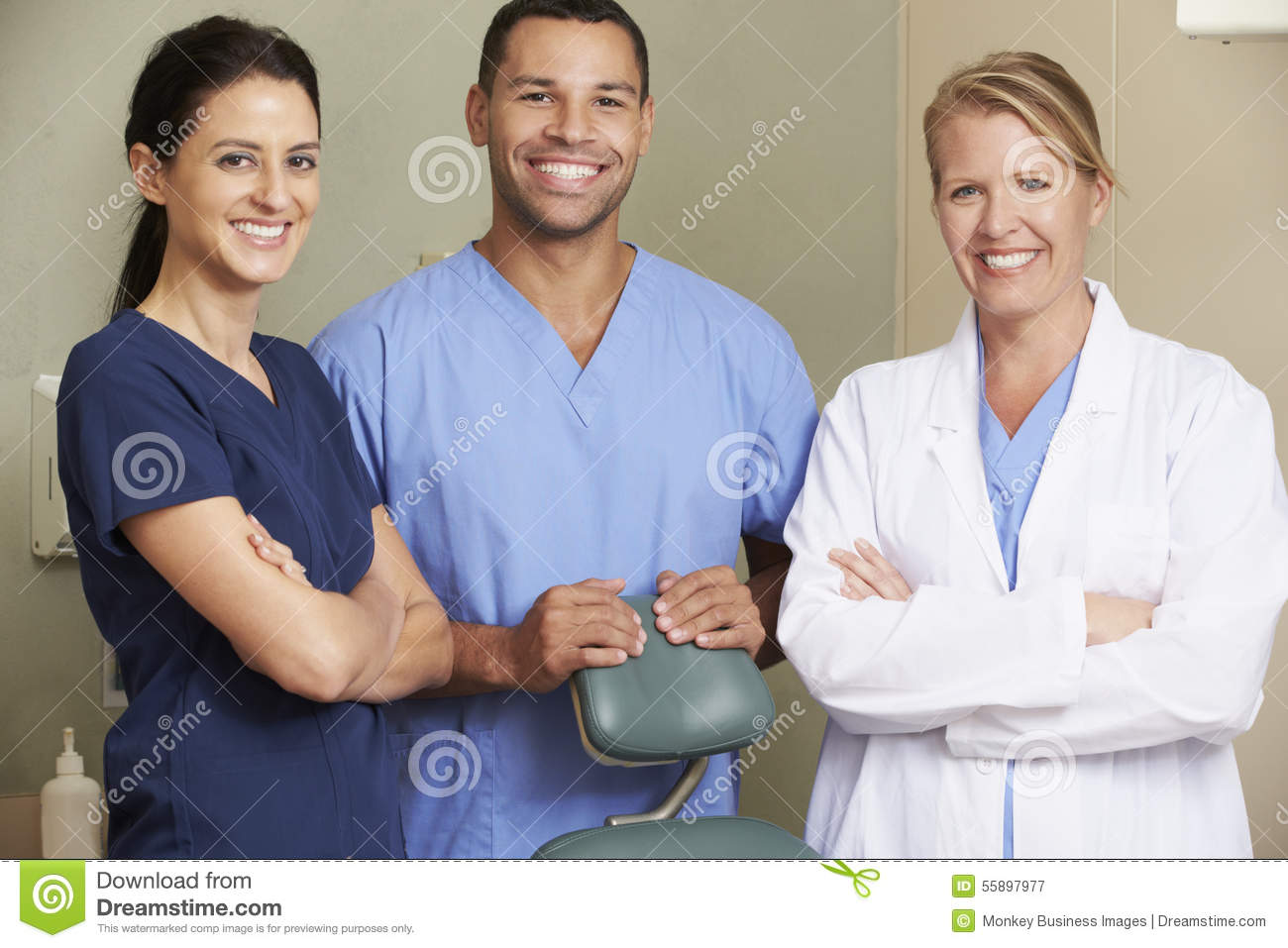 Portrait Of Dentist And Dental Nurses In Surgery Stock Photo ...