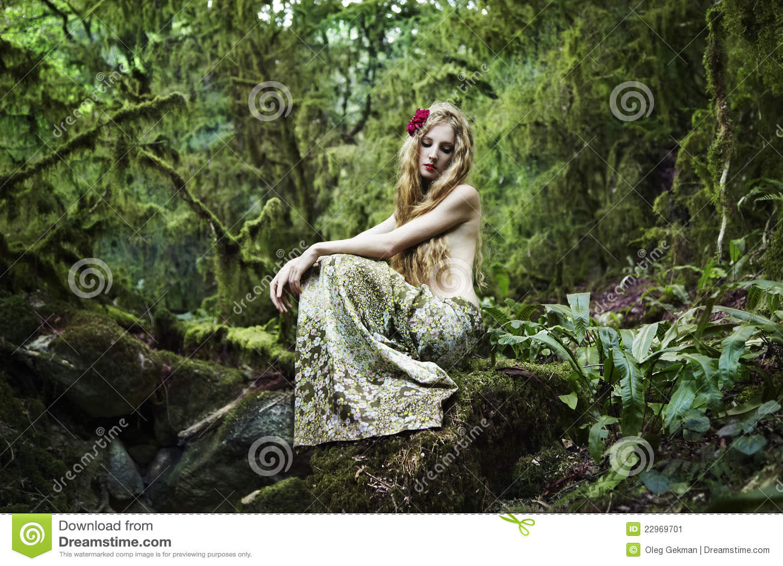 Portrait Der Romantischen Frau Im Feenhaften Wald