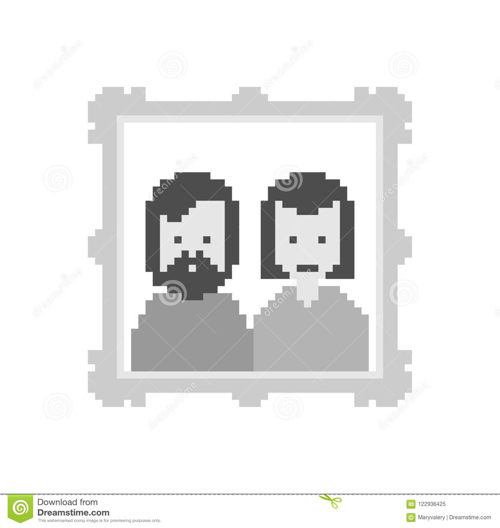 Portrait Des Parents Dans Lart De Pixel De Cadre Bit De